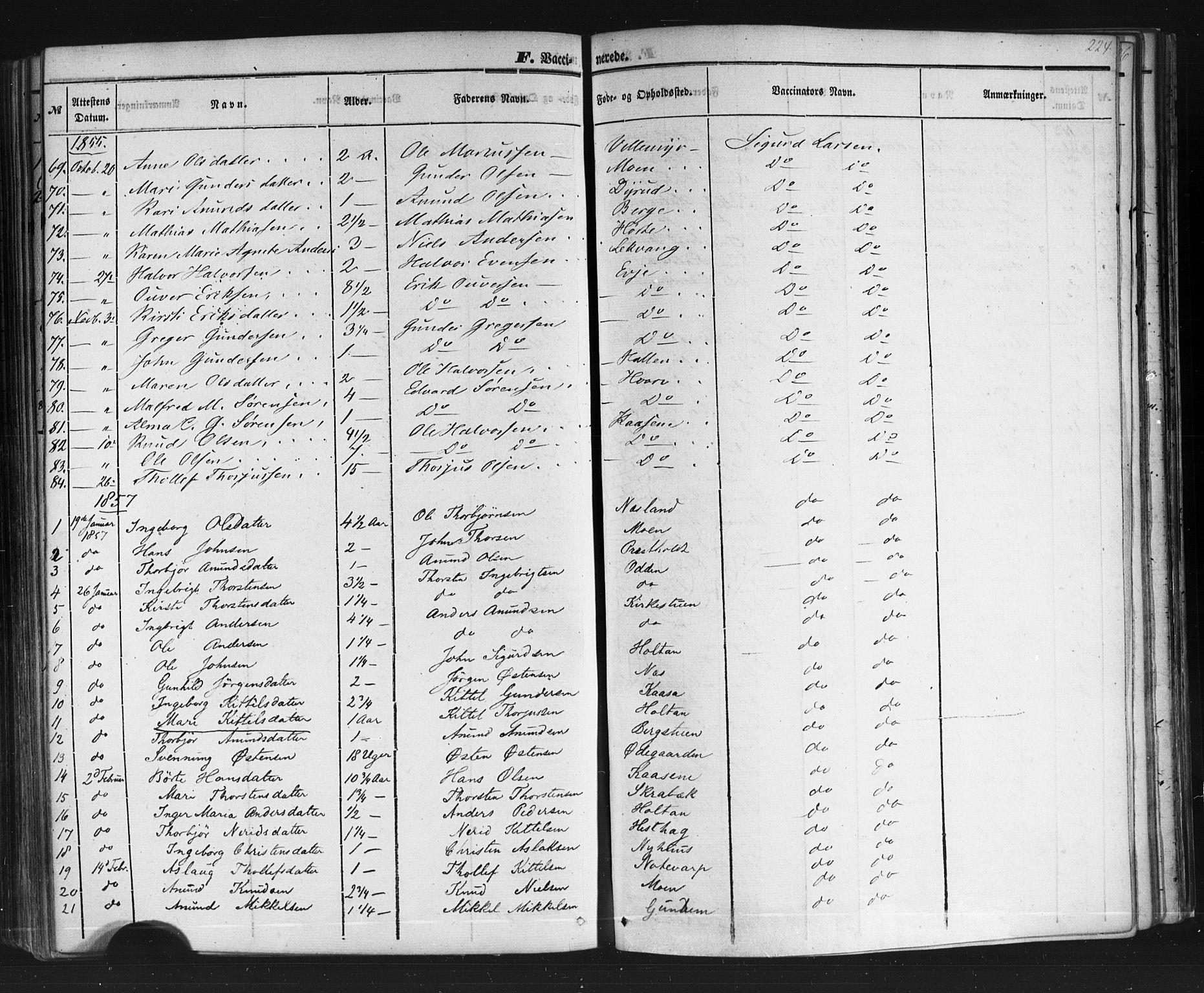 SAKO, Sauherad kirkebøker, F/Fb/L0001: Ministerialbok nr. II 1, 1851-1877, s. 224