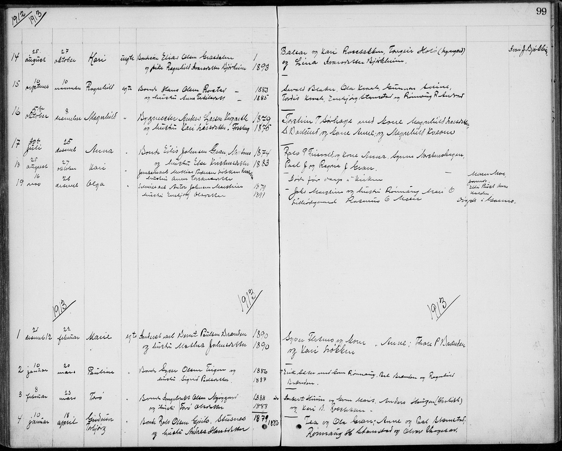 SAH, Lom prestekontor, L/L0013: Klokkerbok nr. 13, 1874-1938, s. 99