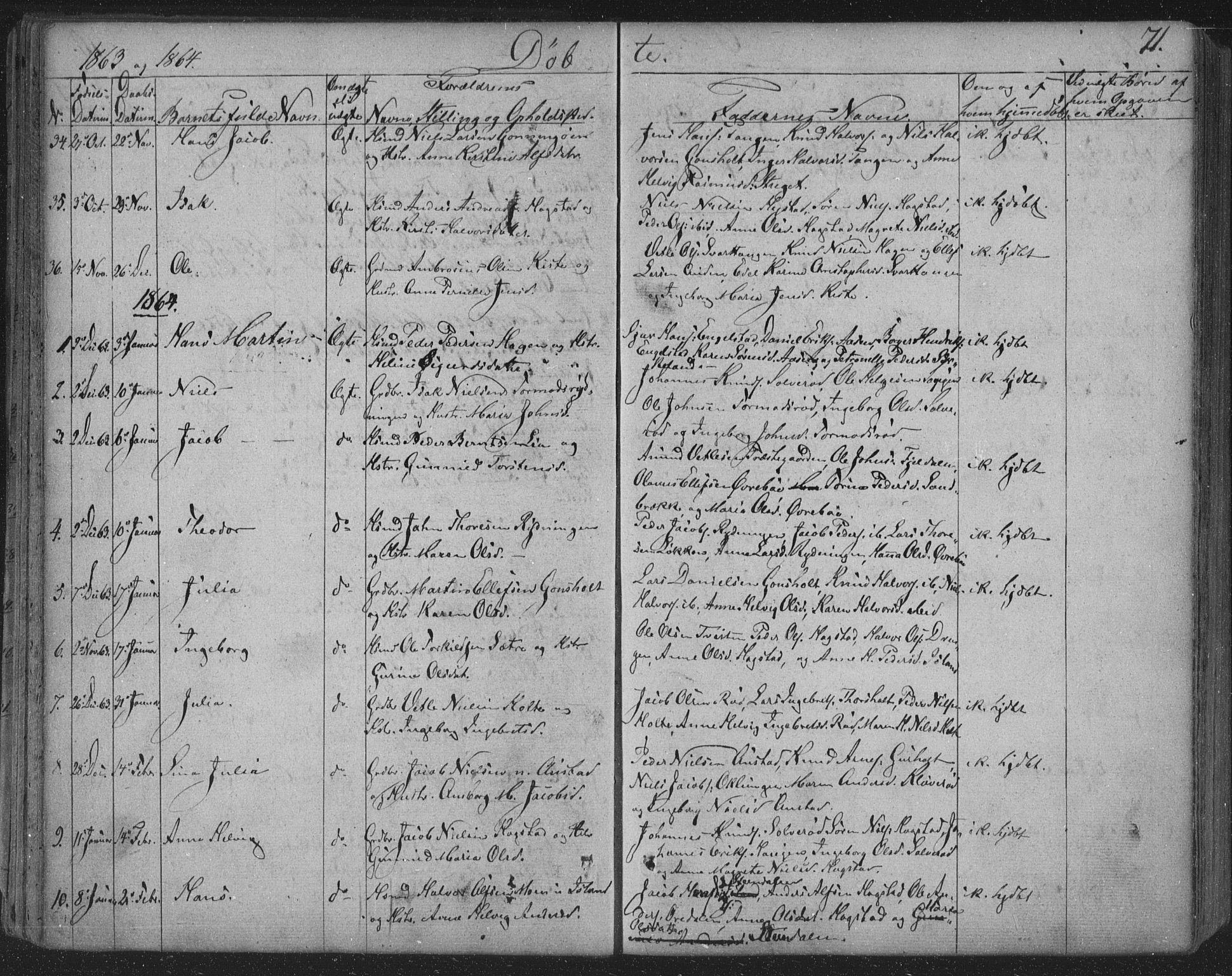 SAKO, Siljan kirkebøker, F/Fa/L0001: Ministerialbok nr. 1, 1831-1870, s. 71