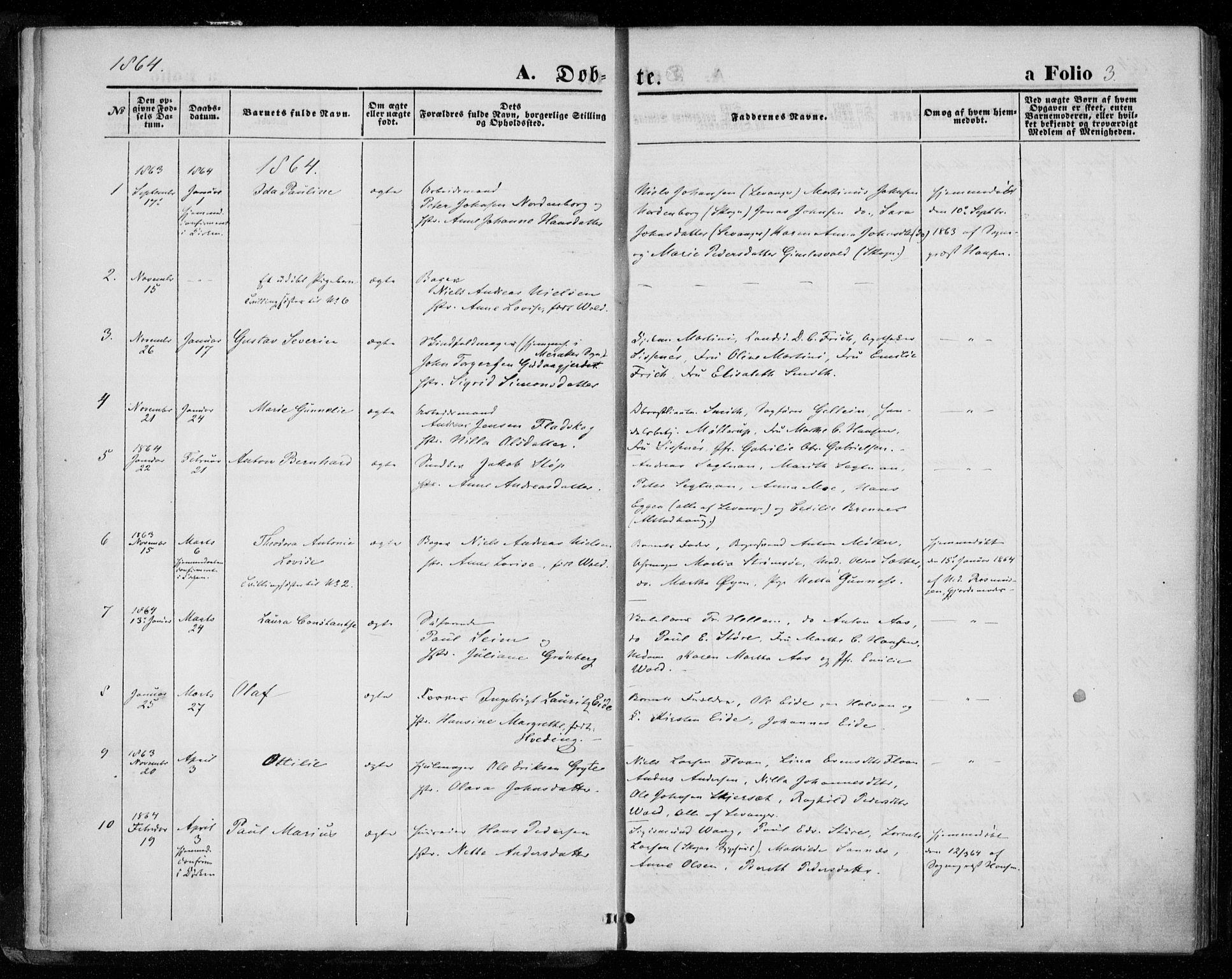 SAT, Ministerialprotokoller, klokkerbøker og fødselsregistre - Nord-Trøndelag, 720/L0186: Ministerialbok nr. 720A03, 1864-1874, s. 3
