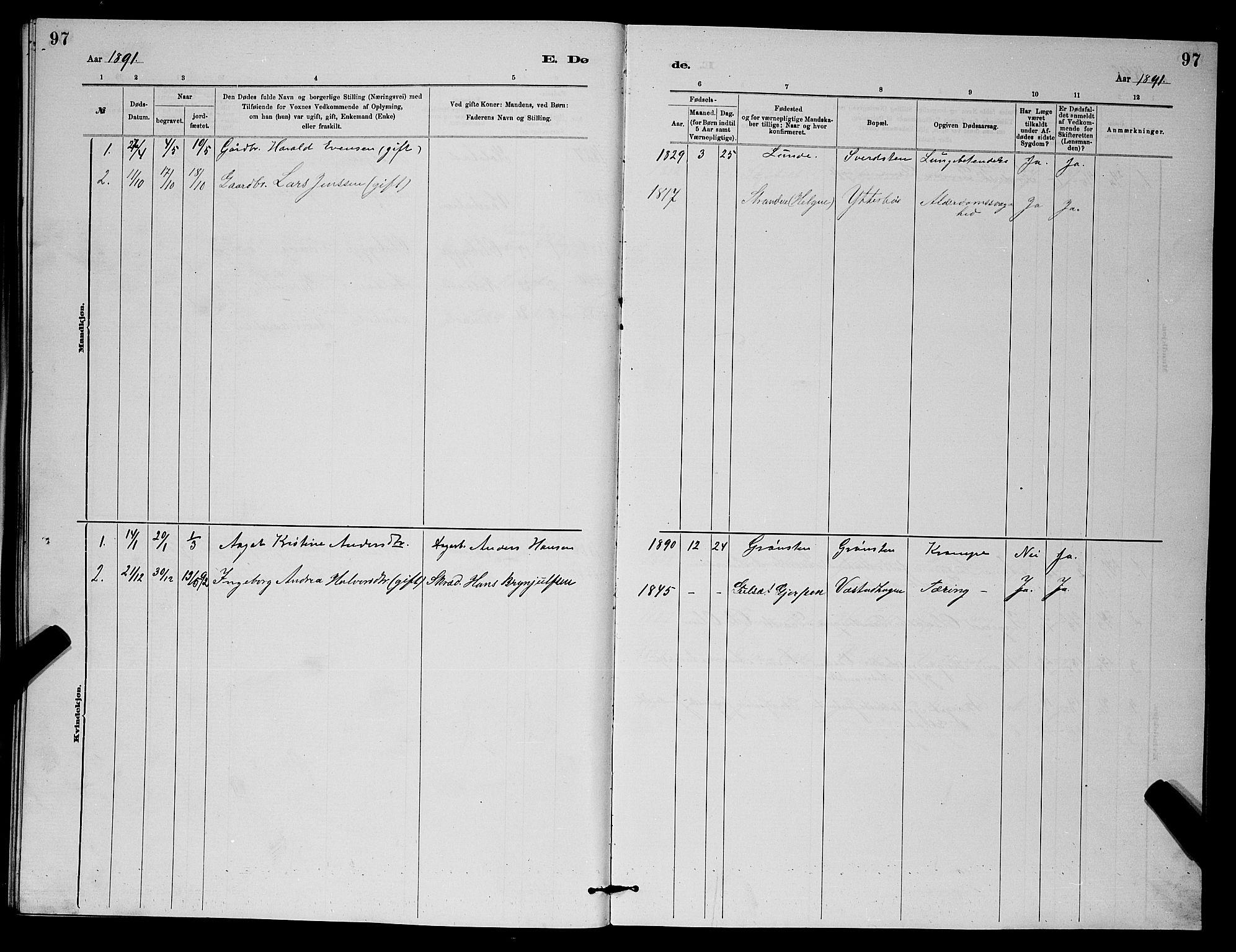 SAKO, Holla kirkebøker, G/Gb/L0001: Klokkerbok nr. II 1, 1882-1897, s. 97