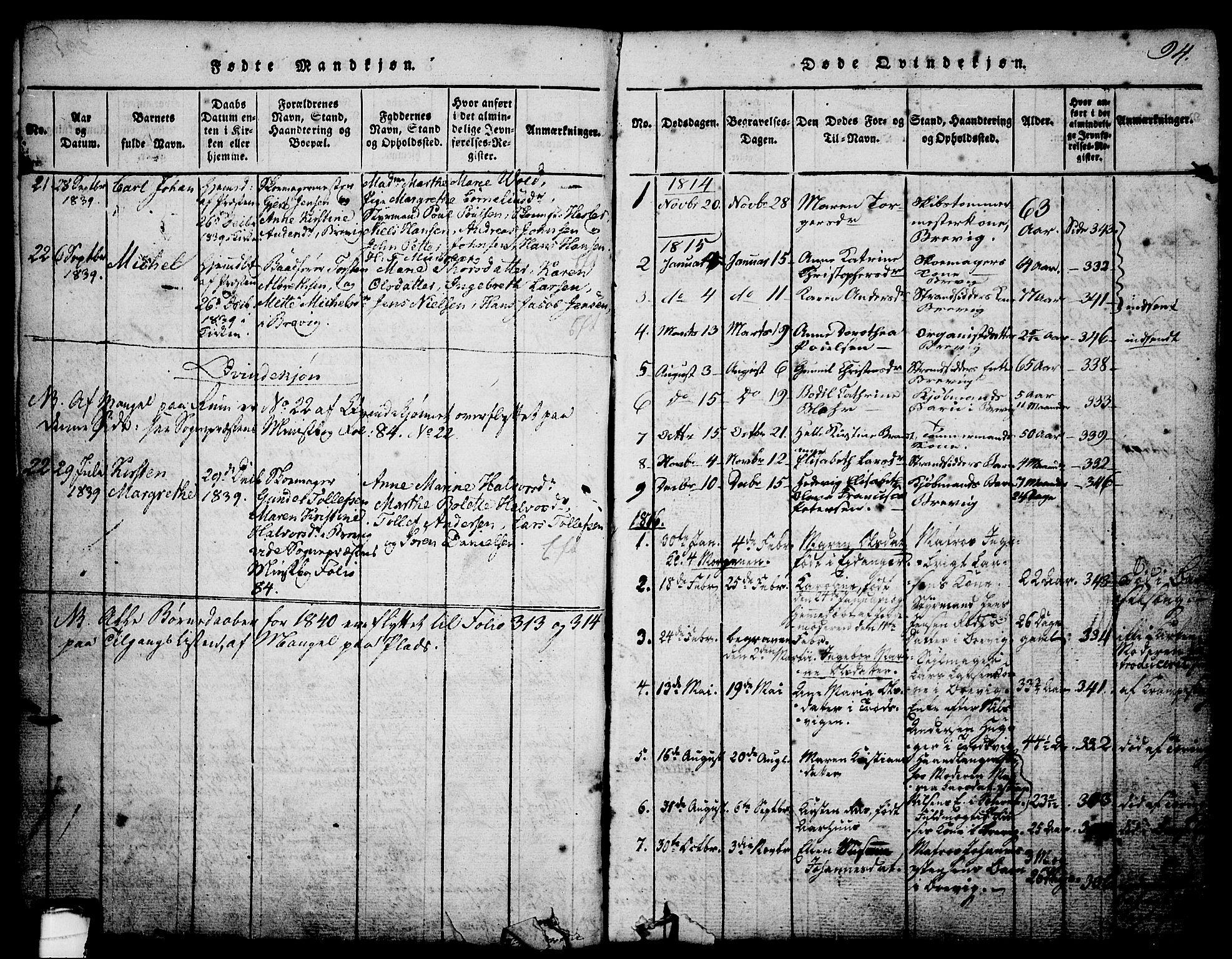 SAKO, Brevik kirkebøker, G/Ga/L0001: Klokkerbok nr. 1, 1814-1845, s. 94