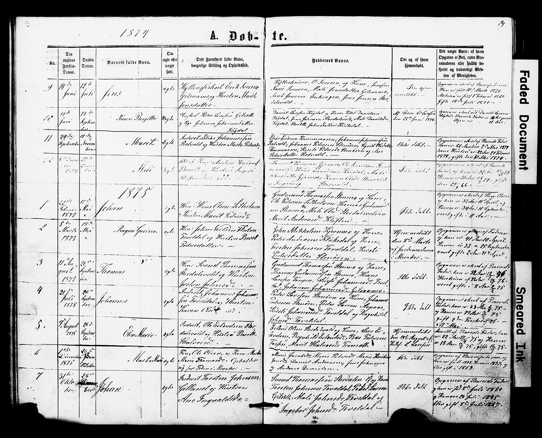 SAT, Ministerialprotokoller, klokkerbøker og fødselsregistre - Nord-Trøndelag, 707/L0052: Klokkerbok nr. 707C01, 1864-1897, s. 14