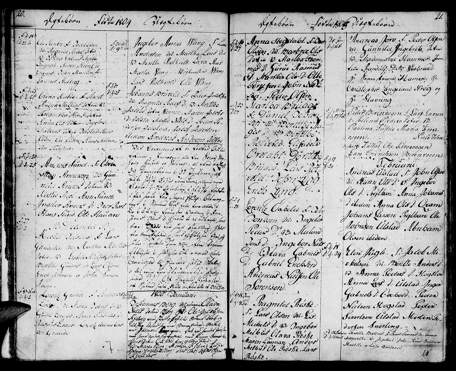 SAT, Ministerialprotokoller, klokkerbøker og fødselsregistre - Nord-Trøndelag, 730/L0274: Ministerialbok nr. 730A03, 1802-1816, s. 20-21