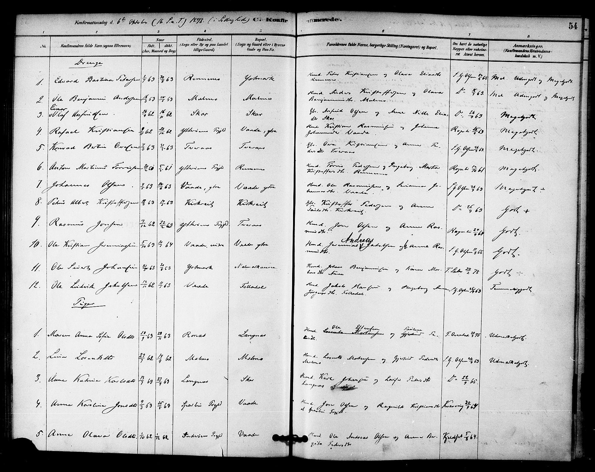 SAT, Ministerialprotokoller, klokkerbøker og fødselsregistre - Nord-Trøndelag, 745/L0429: Ministerialbok nr. 745A01, 1878-1894, s. 54