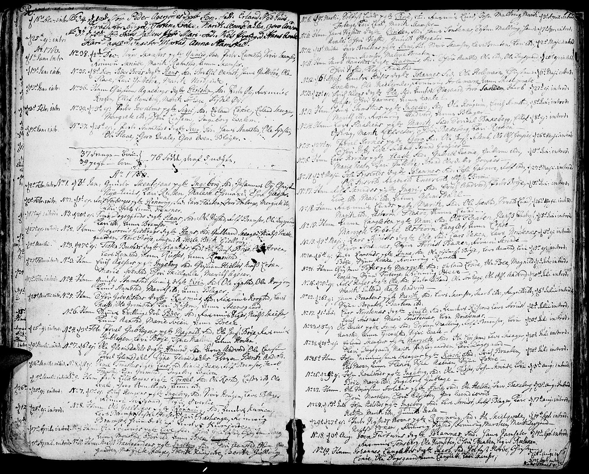 SAH, Lom prestekontor, K/L0002: Ministerialbok nr. 2, 1749-1801, s. 70-71