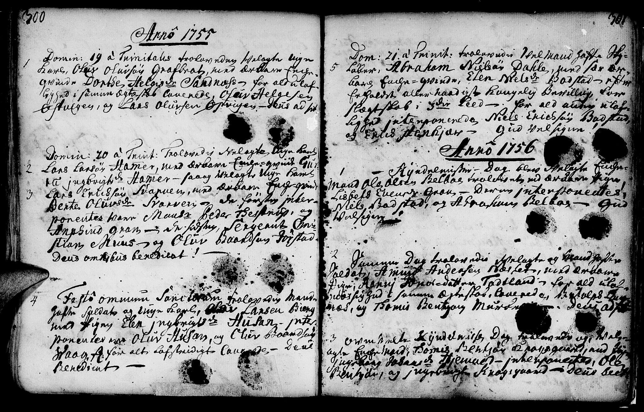 SAT, Ministerialprotokoller, klokkerbøker og fødselsregistre - Nord-Trøndelag, 749/L0467: Ministerialbok nr. 749A01, 1733-1787, s. 300-301