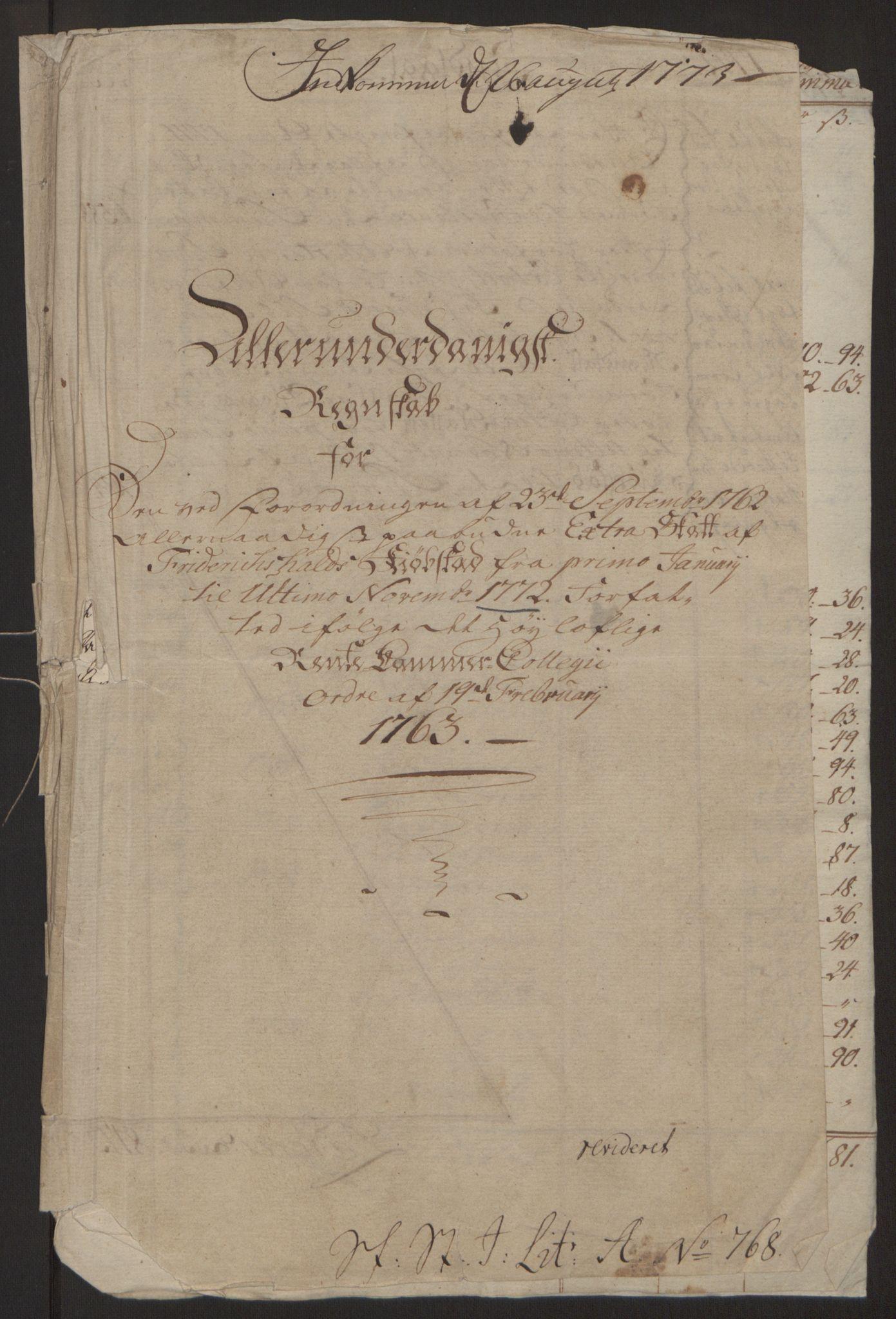 RA, Rentekammeret inntil 1814, Reviderte regnskaper, Byregnskaper, R/Ra/L0006: [A4] Kontribusjonsregnskap, 1762-1772, s. 269