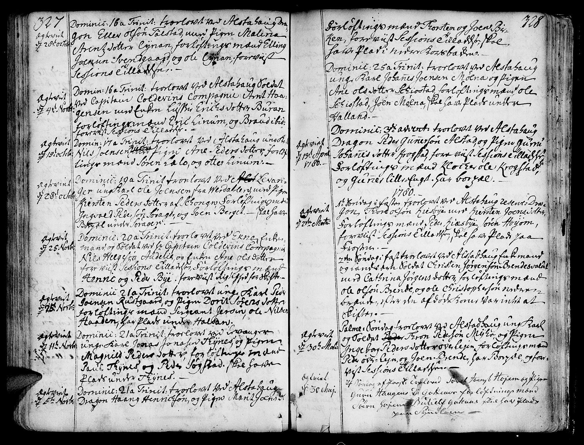 SAT, Ministerialprotokoller, klokkerbøker og fødselsregistre - Nord-Trøndelag, 717/L0141: Ministerialbok nr. 717A01, 1747-1803, s. 327-328