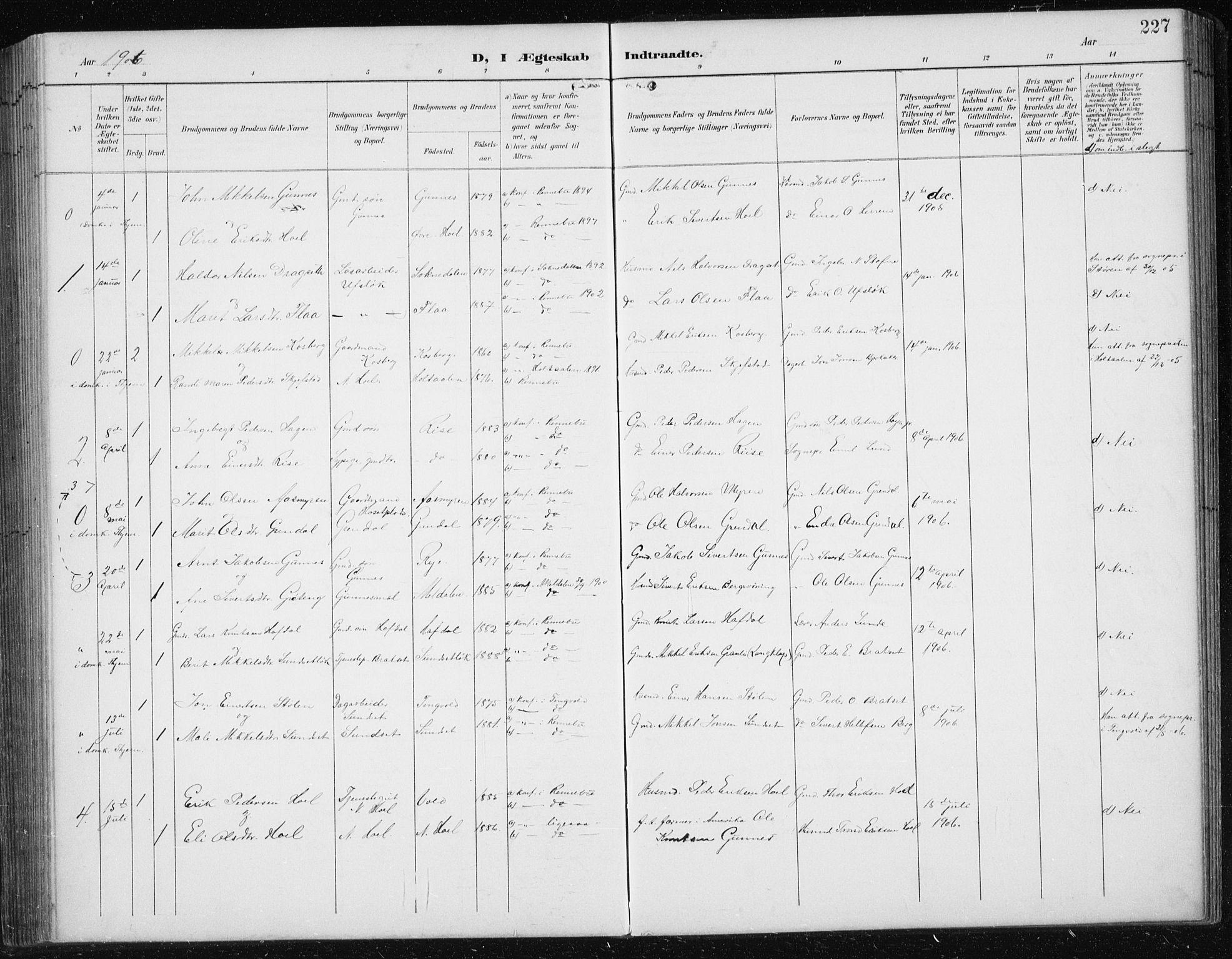 SAT, Ministerialprotokoller, klokkerbøker og fødselsregistre - Sør-Trøndelag, 674/L0876: Klokkerbok nr. 674C03, 1892-1912, s. 227