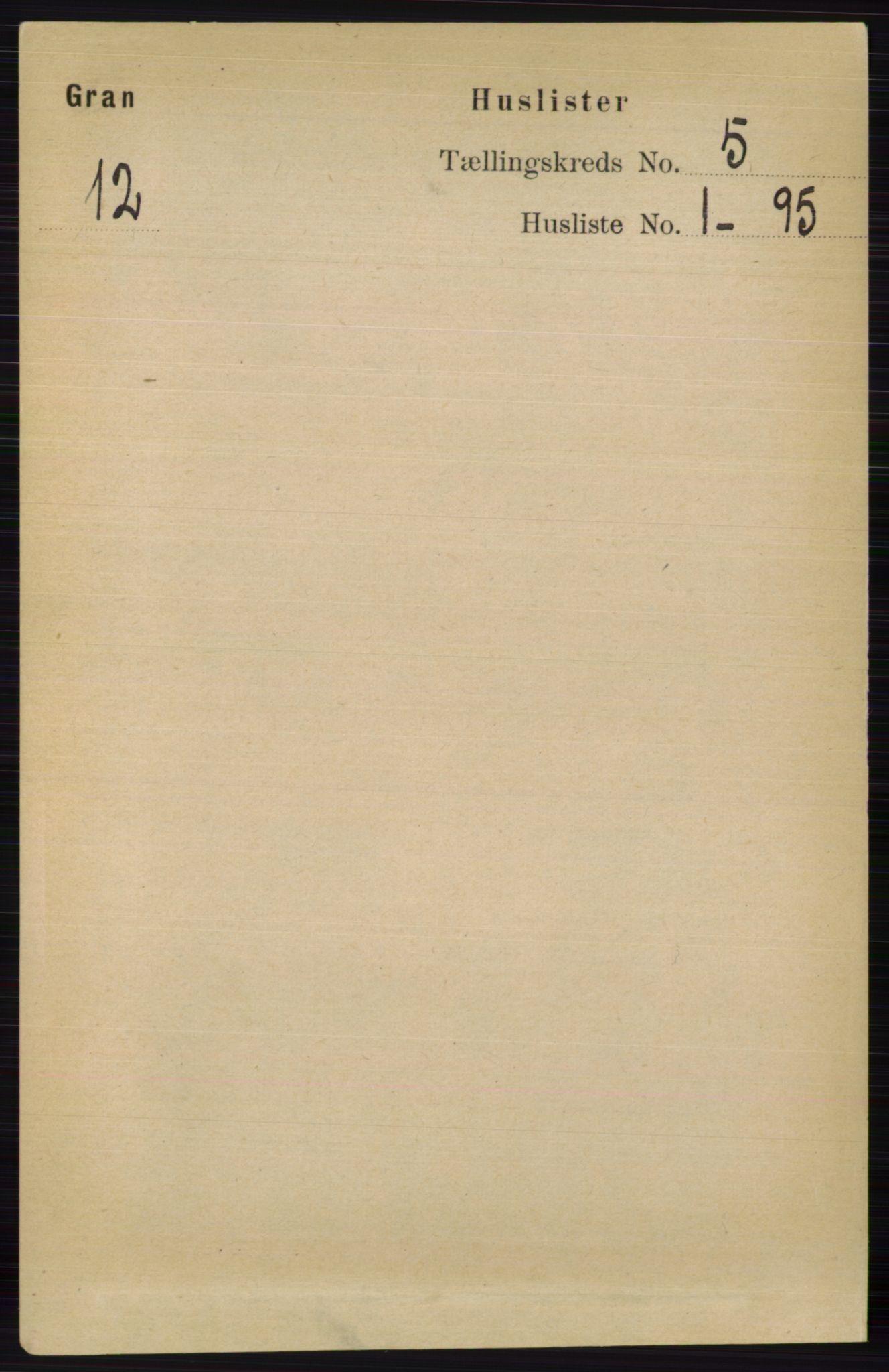 RA, Folketelling 1891 for 0534 Gran herred, 1891, s. 1516
