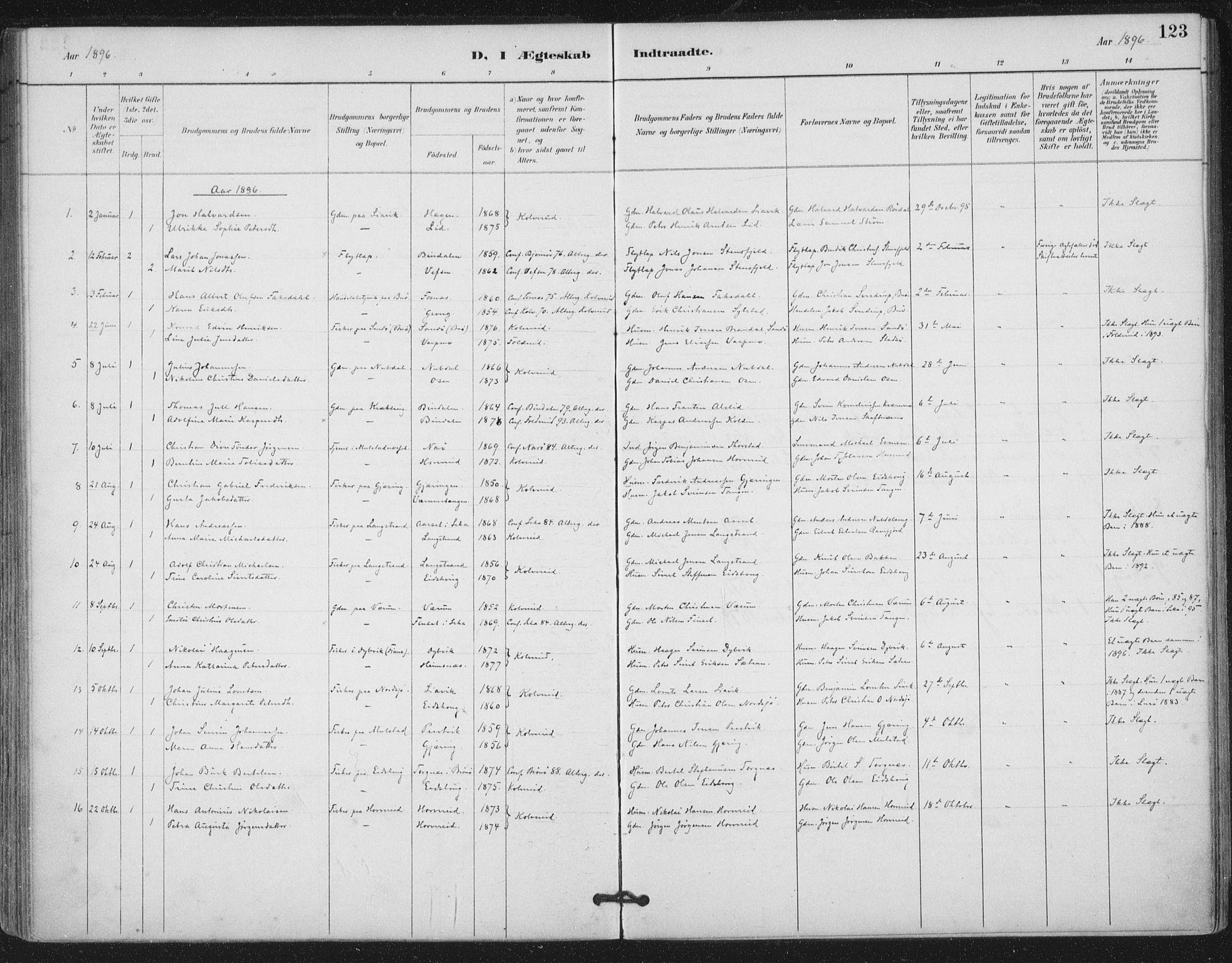 SAT, Ministerialprotokoller, klokkerbøker og fødselsregistre - Nord-Trøndelag, 780/L0644: Ministerialbok nr. 780A08, 1886-1903, s. 123