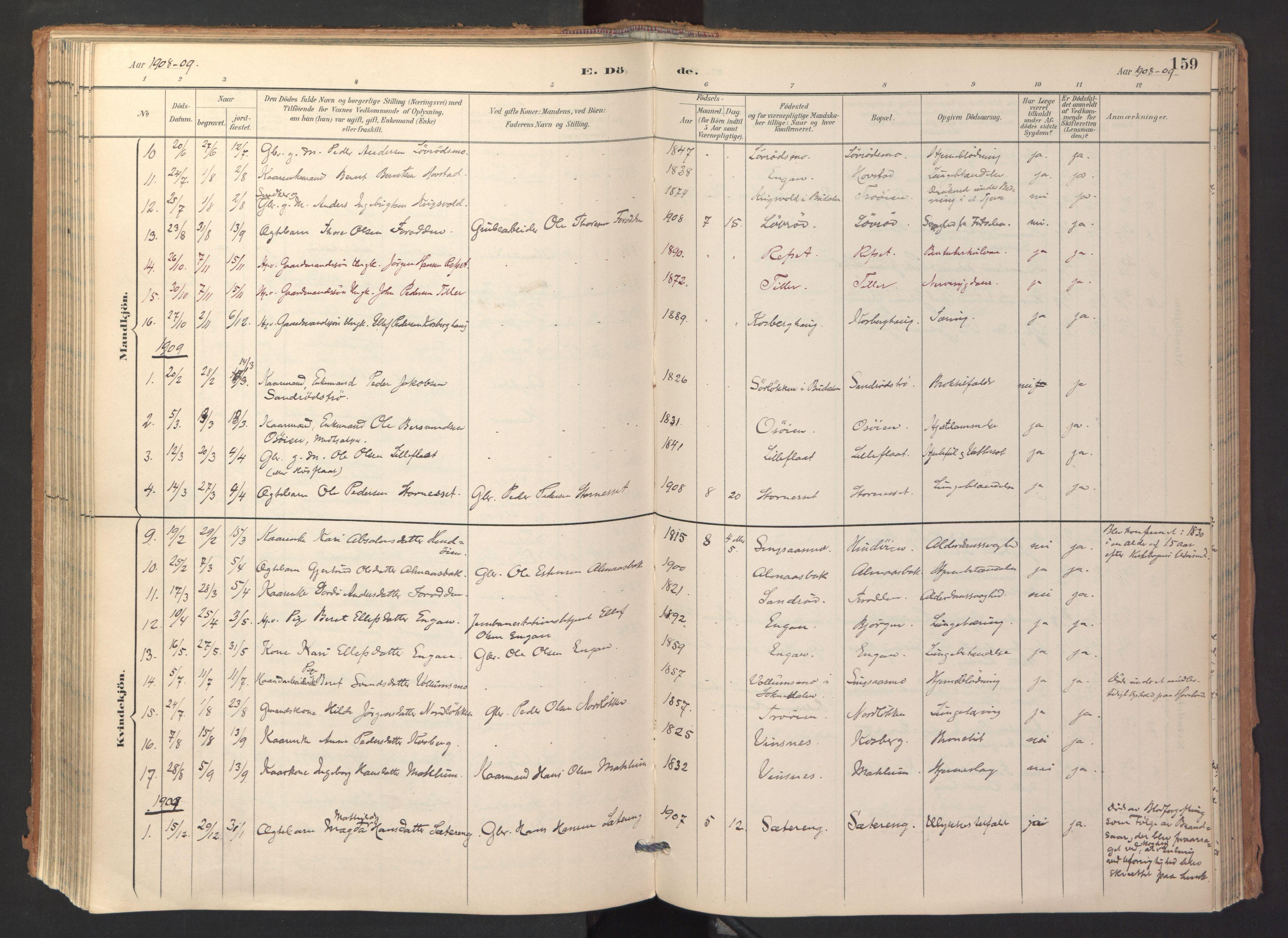 SAT, Ministerialprotokoller, klokkerbøker og fødselsregistre - Sør-Trøndelag, 688/L1025: Ministerialbok nr. 688A02, 1891-1909, s. 159