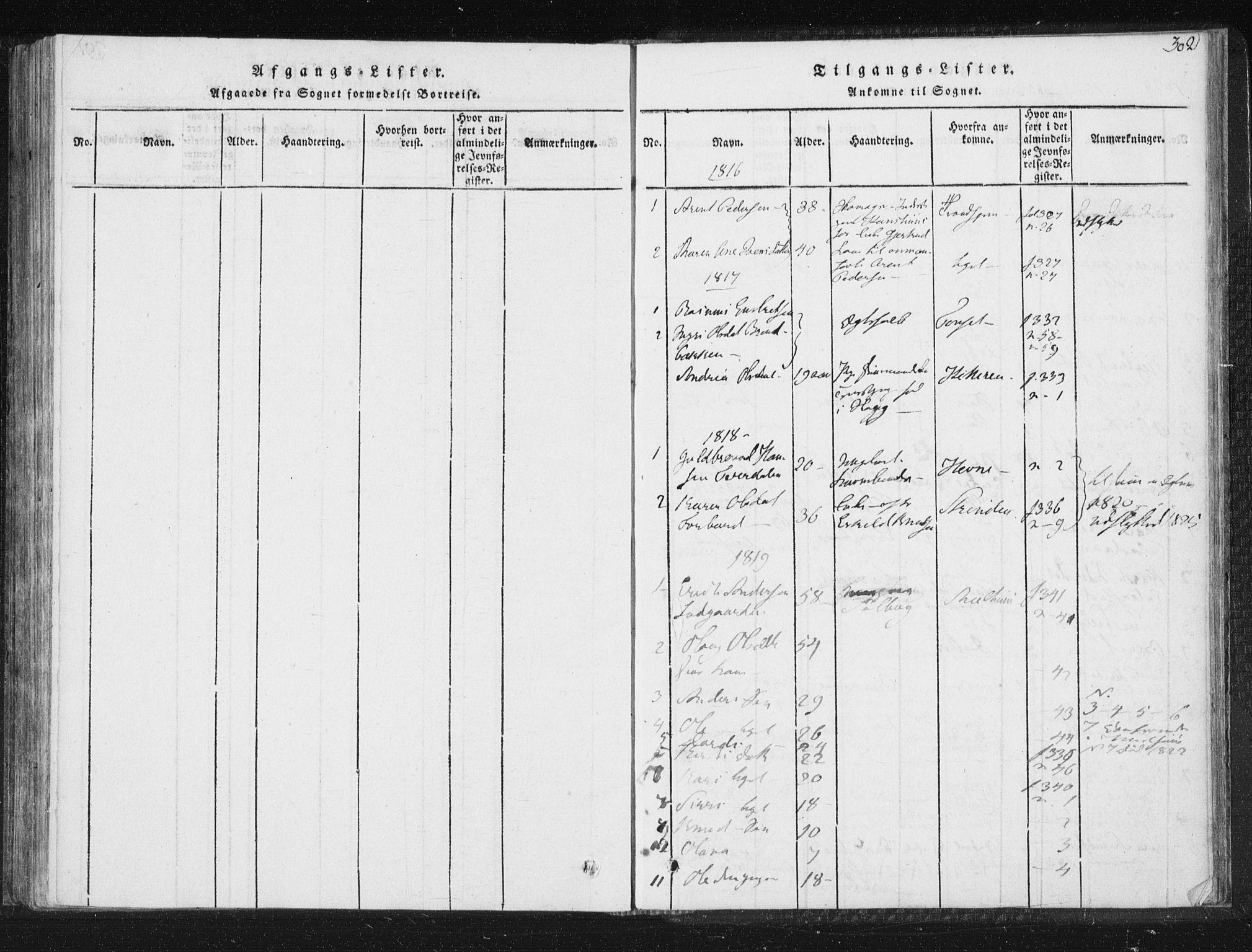 SAT, Ministerialprotokoller, klokkerbøker og fødselsregistre - Sør-Trøndelag, 689/L1037: Ministerialbok nr. 689A02, 1816-1842, s. 302