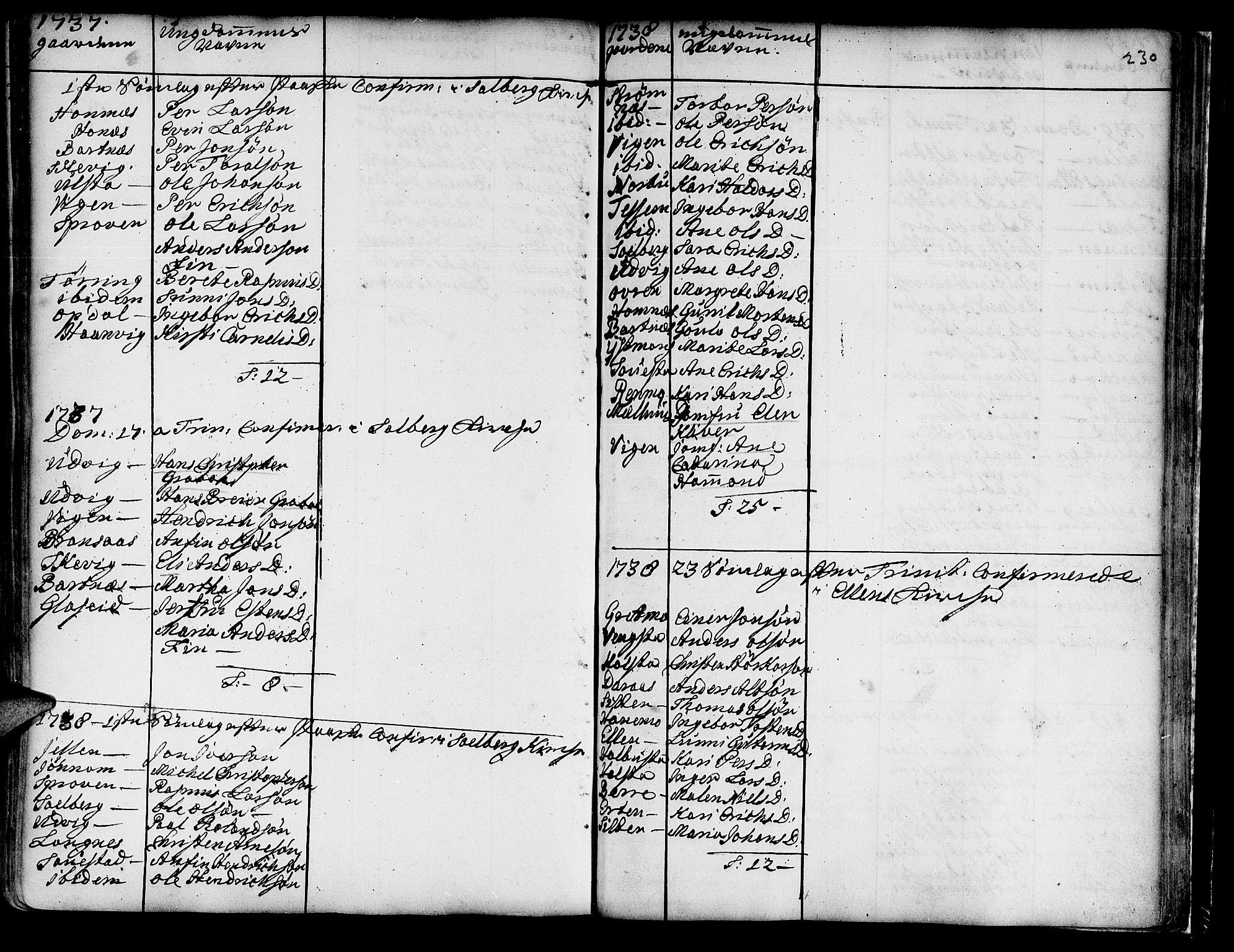 SAT, Ministerialprotokoller, klokkerbøker og fødselsregistre - Nord-Trøndelag, 741/L0385: Ministerialbok nr. 741A01, 1722-1815, s. 230