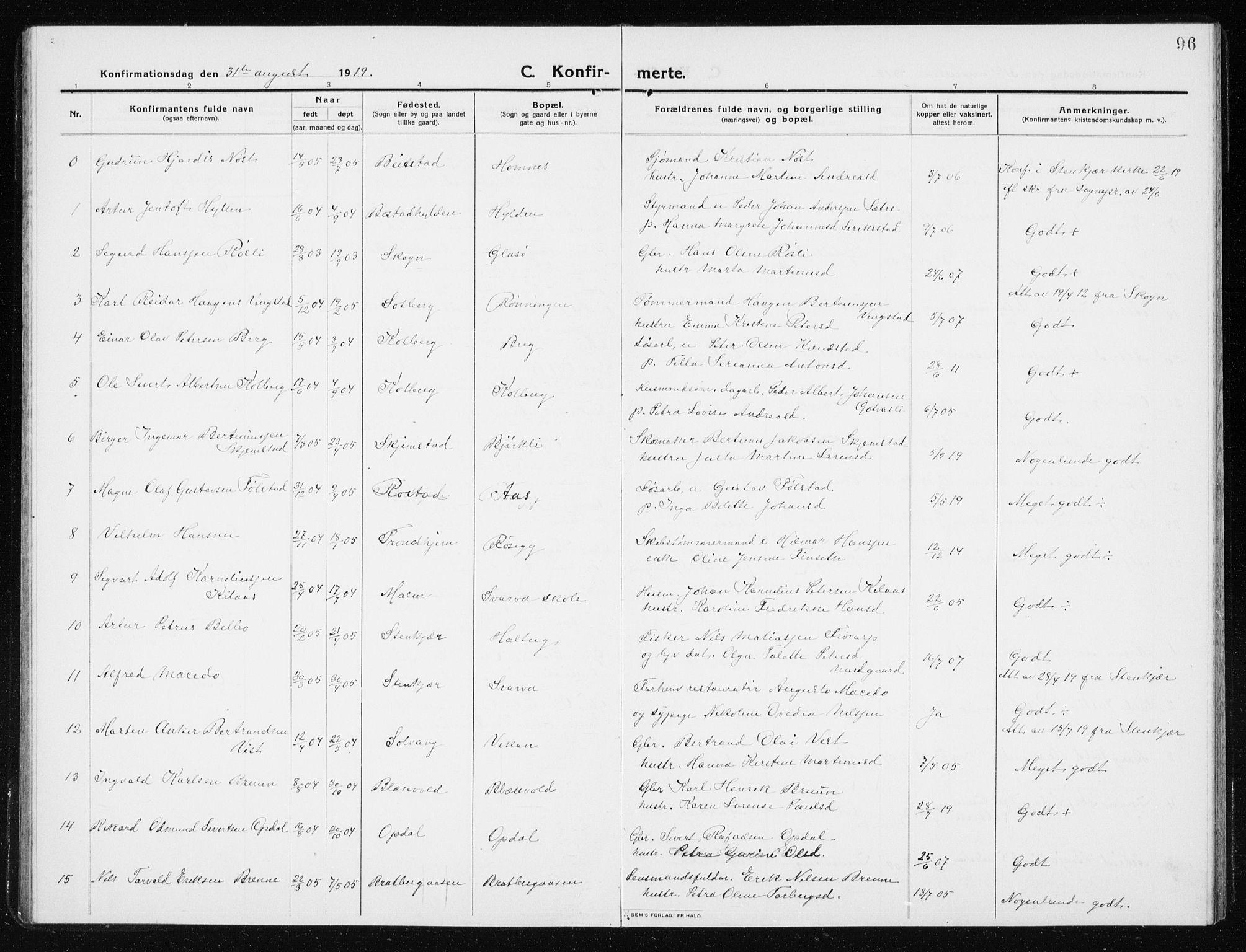 SAT, Ministerialprotokoller, klokkerbøker og fødselsregistre - Nord-Trøndelag, 741/L0402: Klokkerbok nr. 741C03, 1911-1926, s. 96