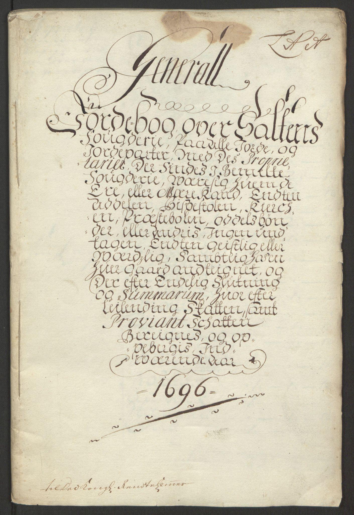 RA, Rentekammeret inntil 1814, Reviderte regnskaper, Fogderegnskap, R66/L4578: Fogderegnskap Salten, 1694-1696, s. 202
