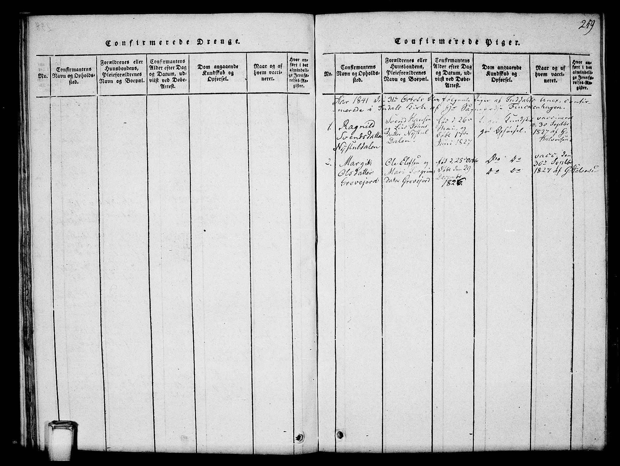 SAKO, Hjartdal kirkebøker, G/Gc/L0001: Klokkerbok nr. III 1, 1815-1842, s. 259