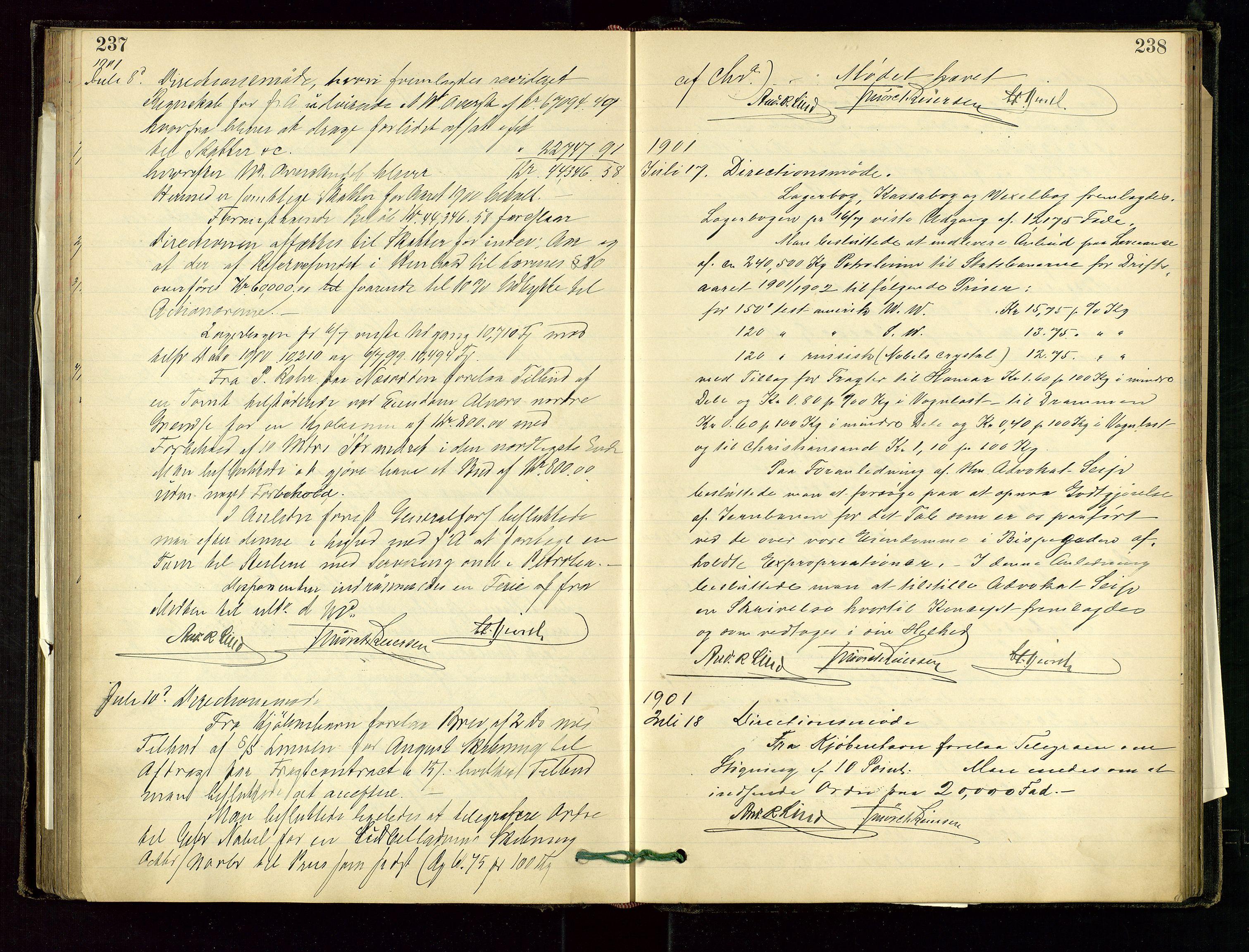 SAST, PA 1534 - Østlandske Petroleumscompagni A/S, A/Aa/L0001: Generalforsamlinger og direksjonsprotokoller., 1892-1905, s. 237-238