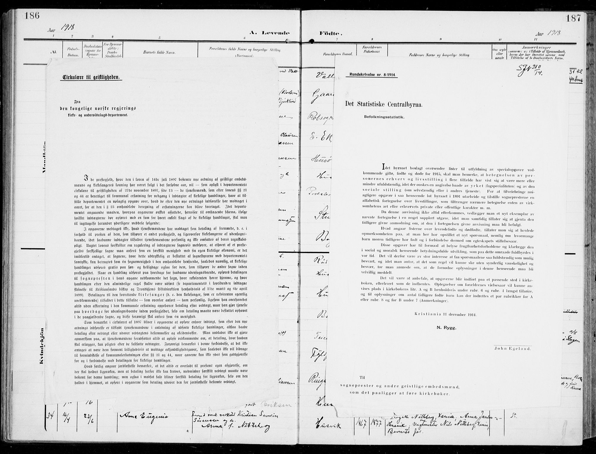 SAKO, Sem kirkebøker, F/Fb/L0006: Ministerialbok nr. II 6, 1905-1918, s. 186-187