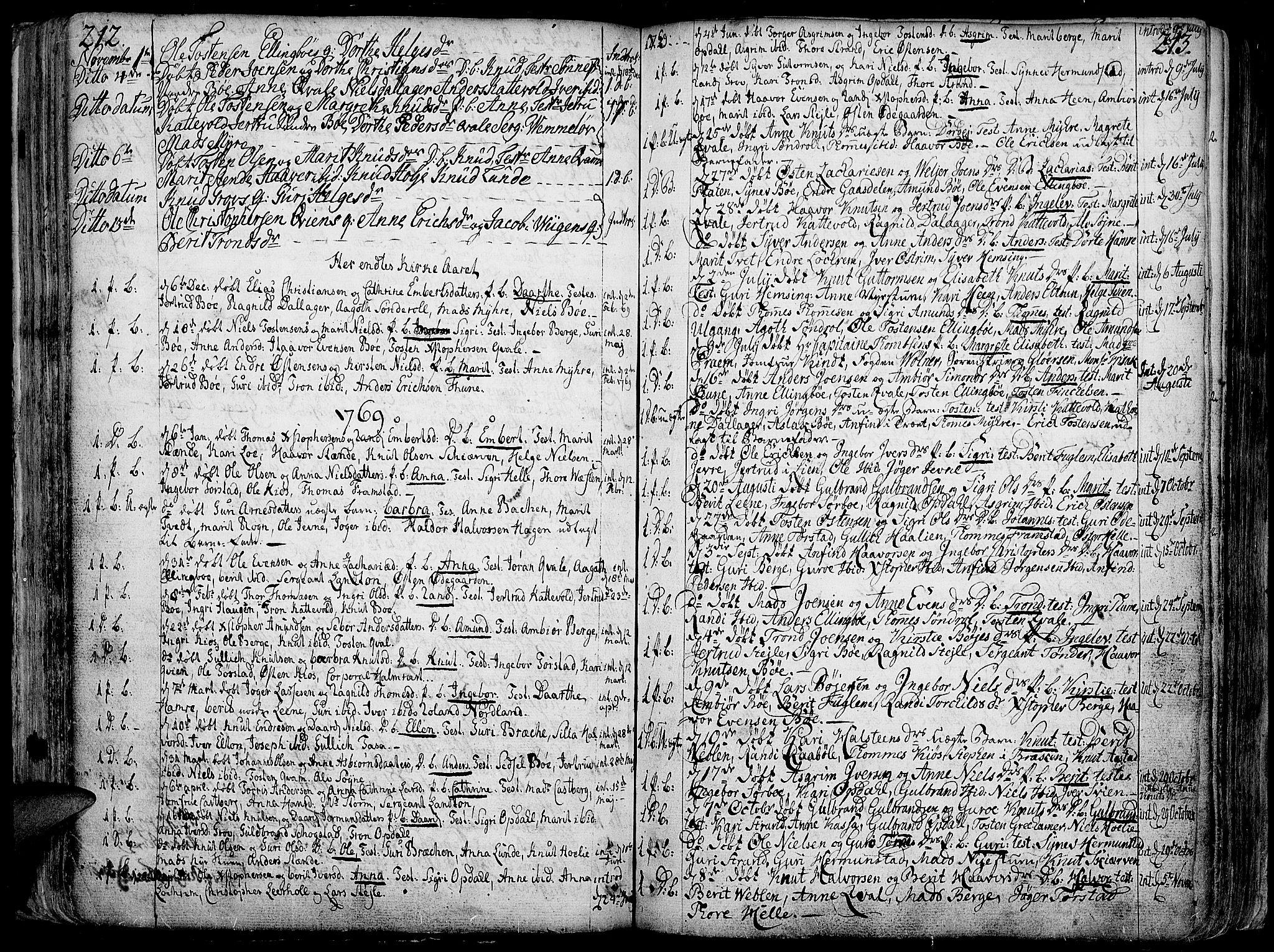 SAH, Vang prestekontor, Valdres, Ministerialbok nr. 1, 1730-1796, s. 212-213
