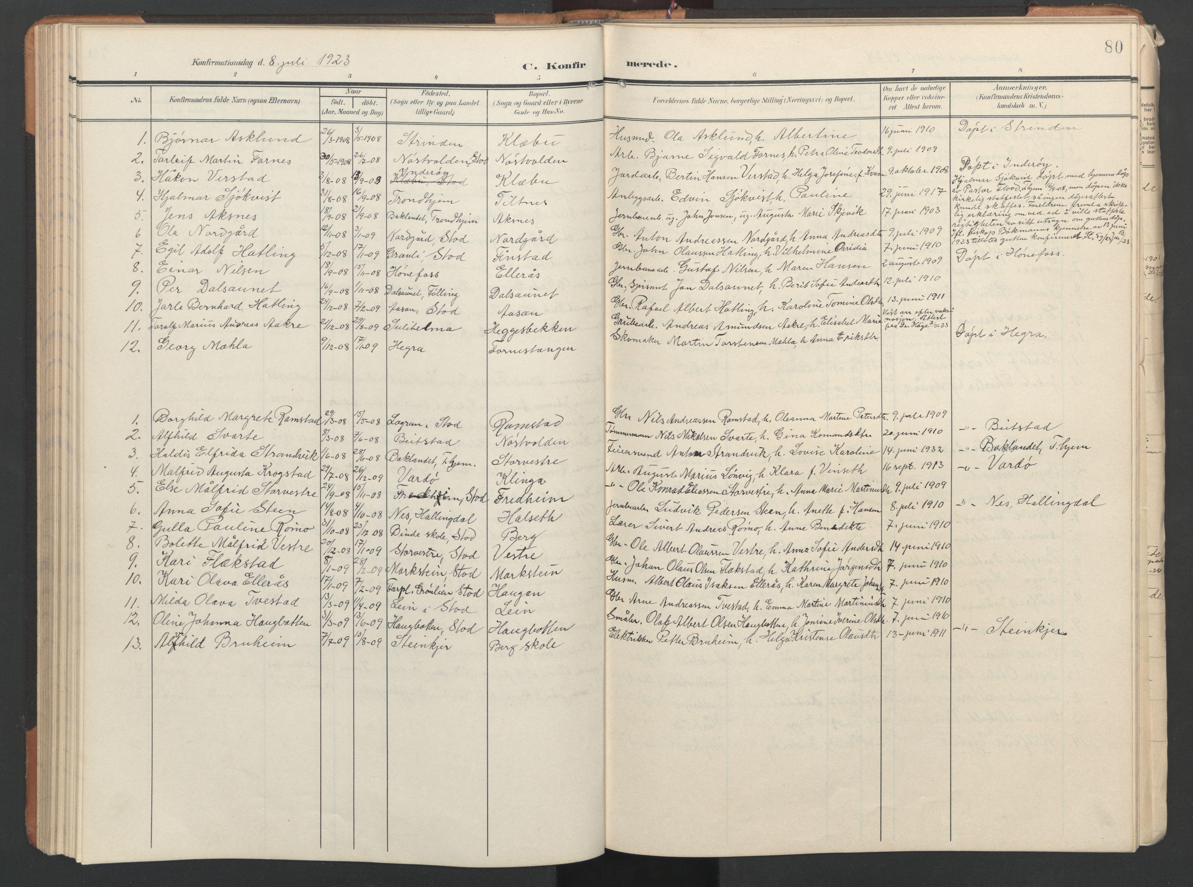 SAT, Ministerialprotokoller, klokkerbøker og fødselsregistre - Nord-Trøndelag, 746/L0455: Klokkerbok nr. 746C01, 1908-1933, s. 80
