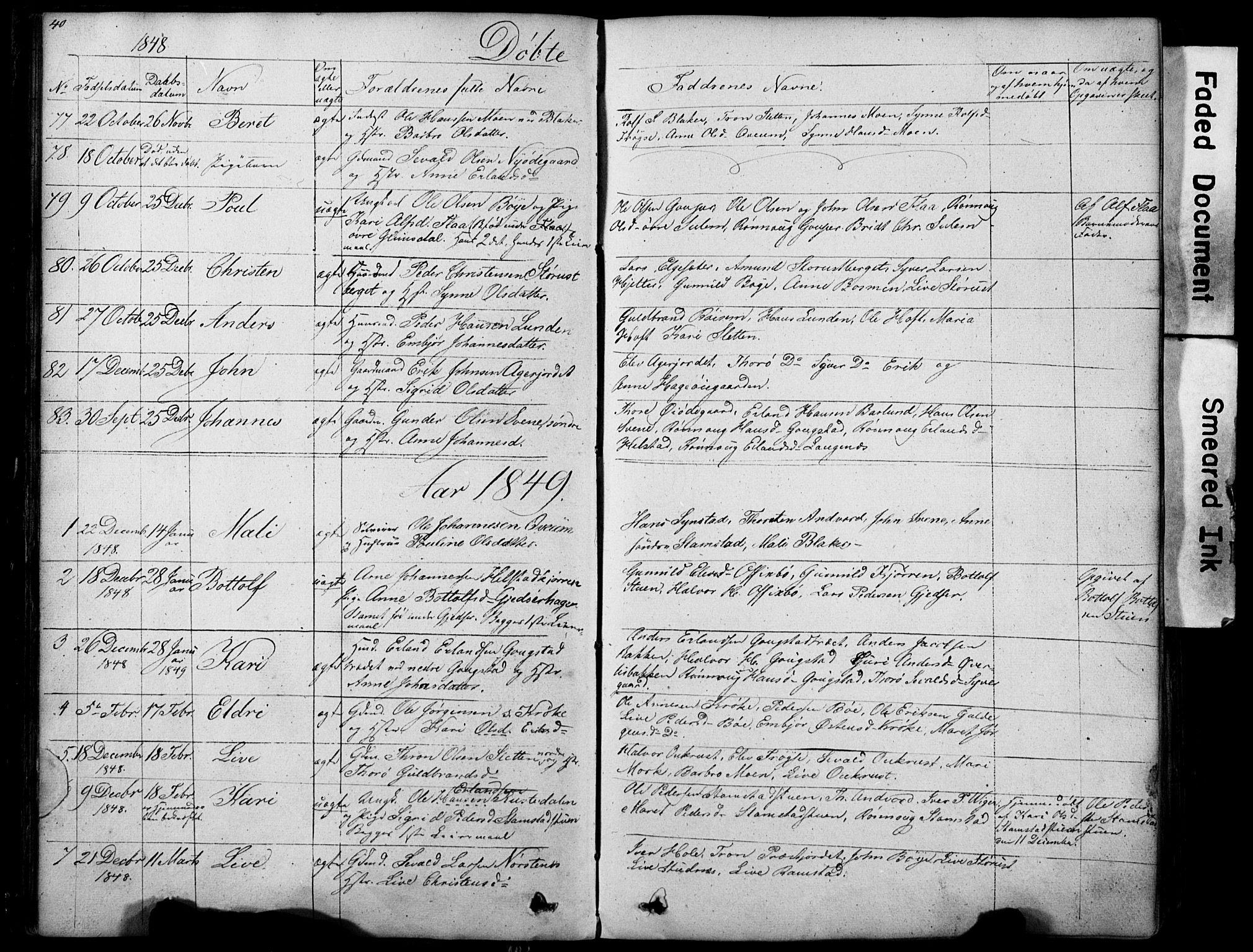 SAH, Lom prestekontor, L/L0012: Klokkerbok nr. 12, 1845-1873, s. 40-41