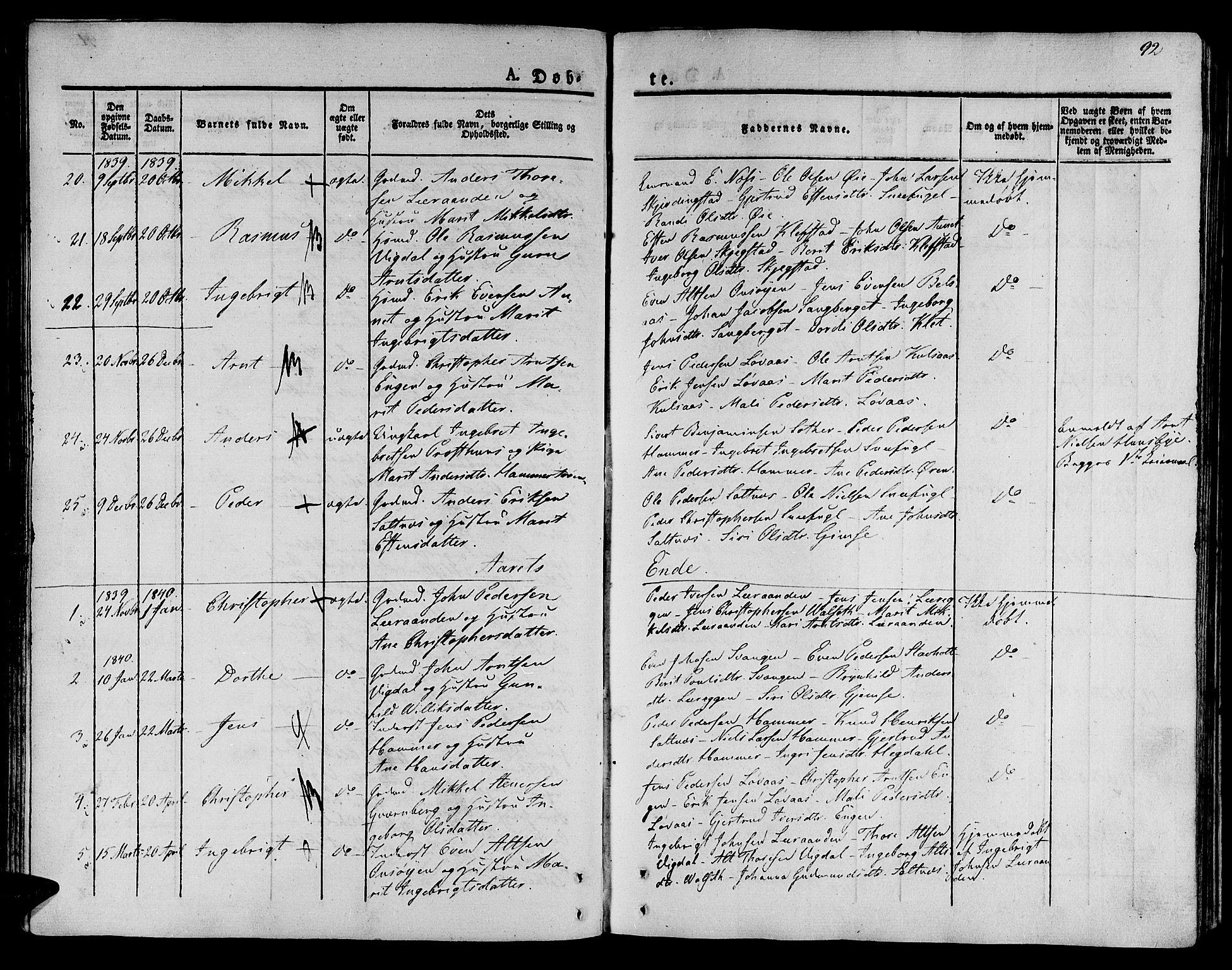 SAT, Ministerialprotokoller, klokkerbøker og fødselsregistre - Sør-Trøndelag, 612/L0375: Ministerialbok nr. 612A07 /2, 1829-1845, s. 92
