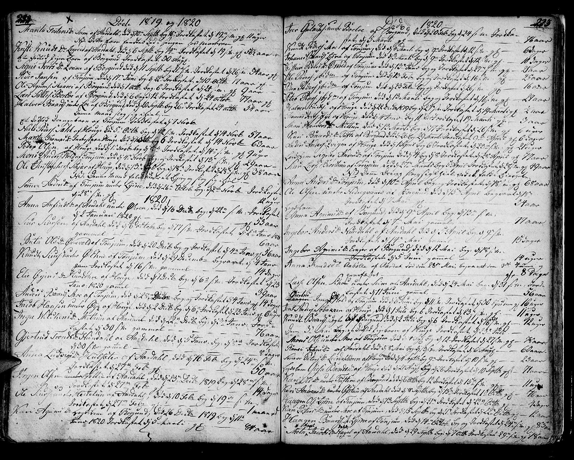SAB, Lærdal sokneprestembete, Ministerialbok nr. A 4, 1805-1821, s. 222-223