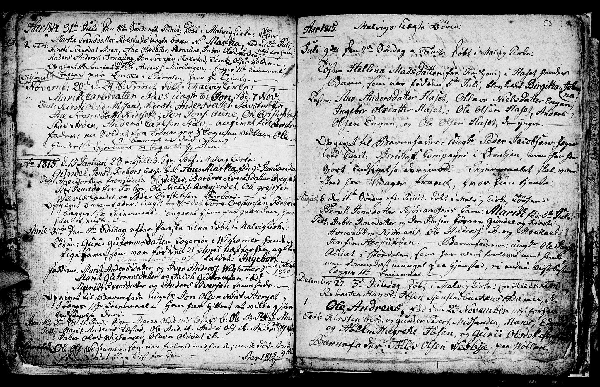 SAT, Ministerialprotokoller, klokkerbøker og fødselsregistre - Sør-Trøndelag, 616/L0419: Klokkerbok nr. 616C02, 1797-1816, s. 53