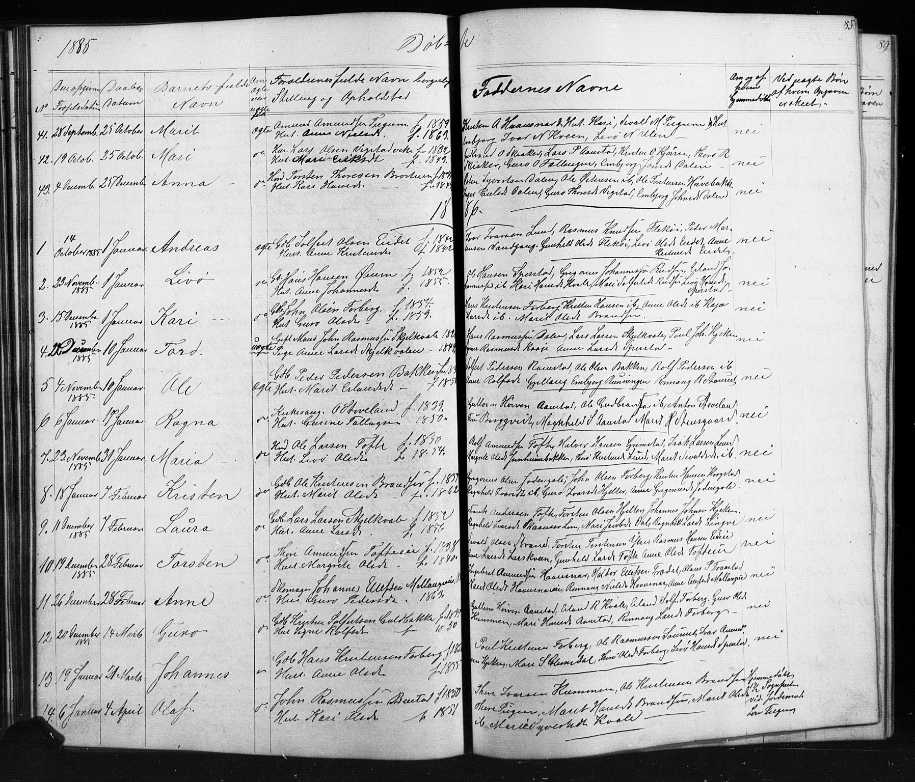 SAH, Skjåk prestekontor, Klokkerbok nr. 1, 1865-1893, s. 85