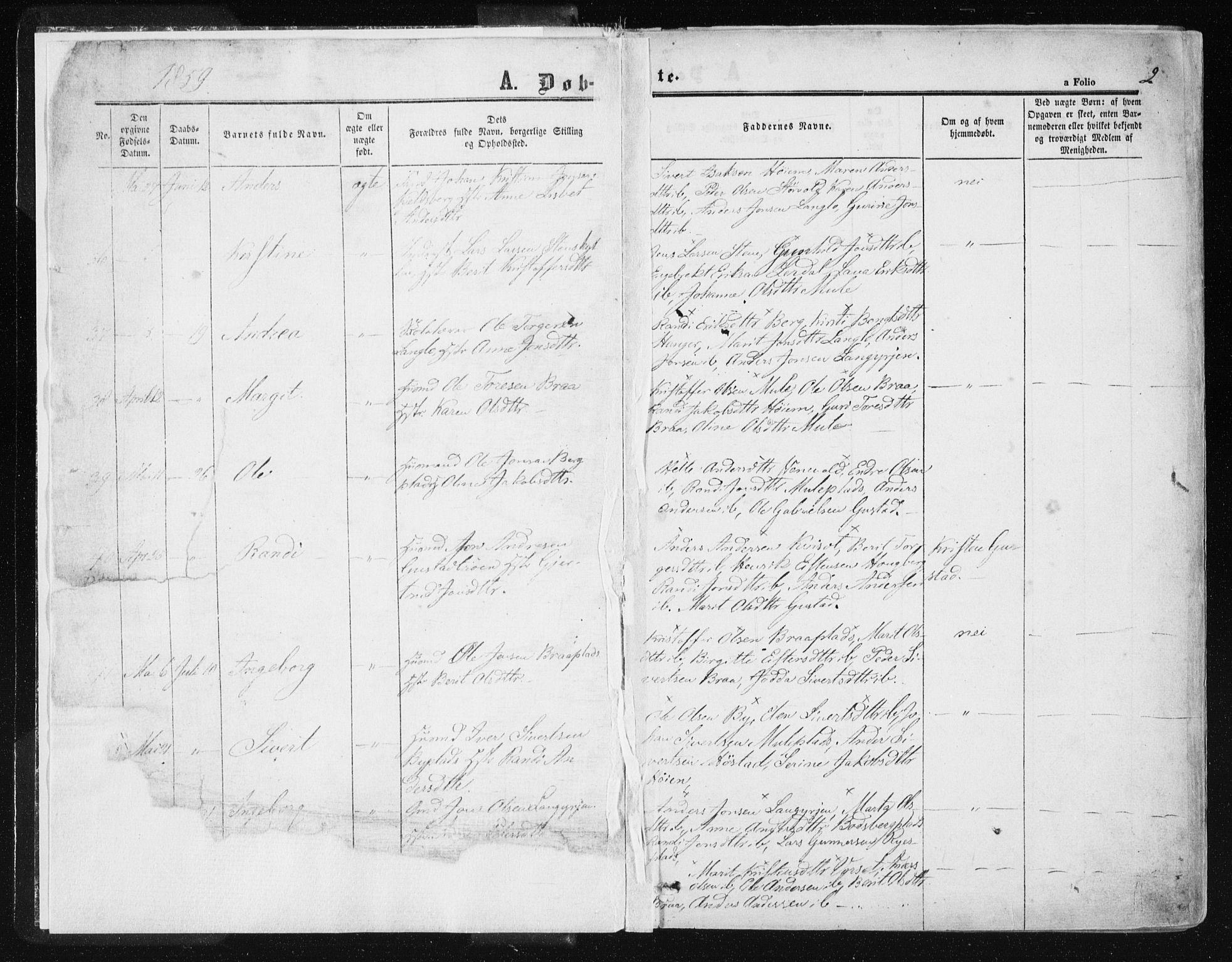 SAT, Ministerialprotokoller, klokkerbøker og fødselsregistre - Sør-Trøndelag, 612/L0377: Ministerialbok nr. 612A09, 1859-1877, s. 2