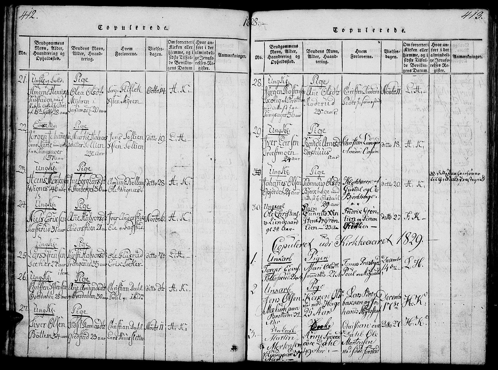 SAH, Fåberg prestekontor, Klokkerbok nr. 4, 1818-1837, s. 412-413
