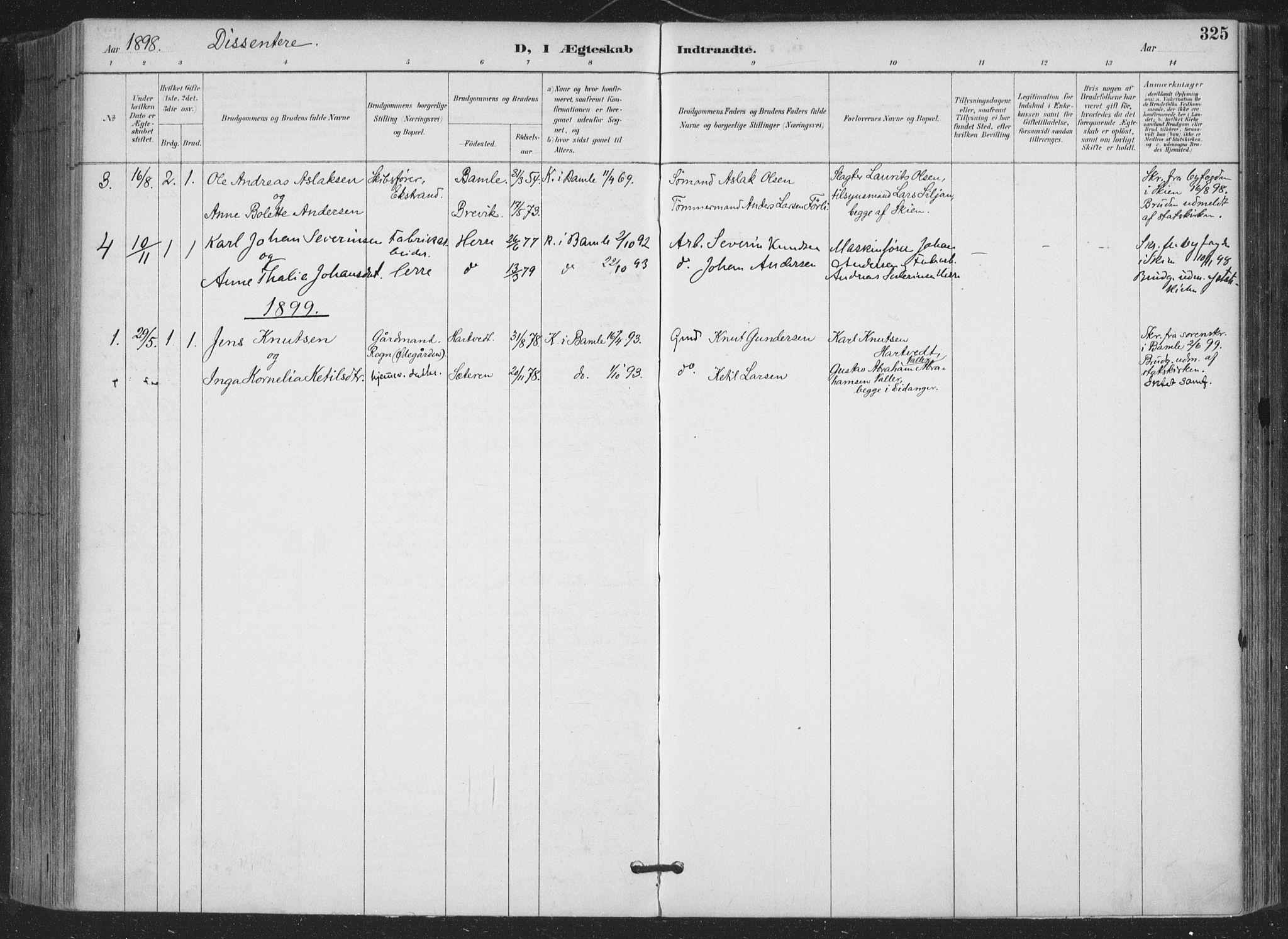 SAKO, Bamble kirkebøker, F/Fa/L0008: Ministerialbok nr. I 8, 1888-1900, s. 325