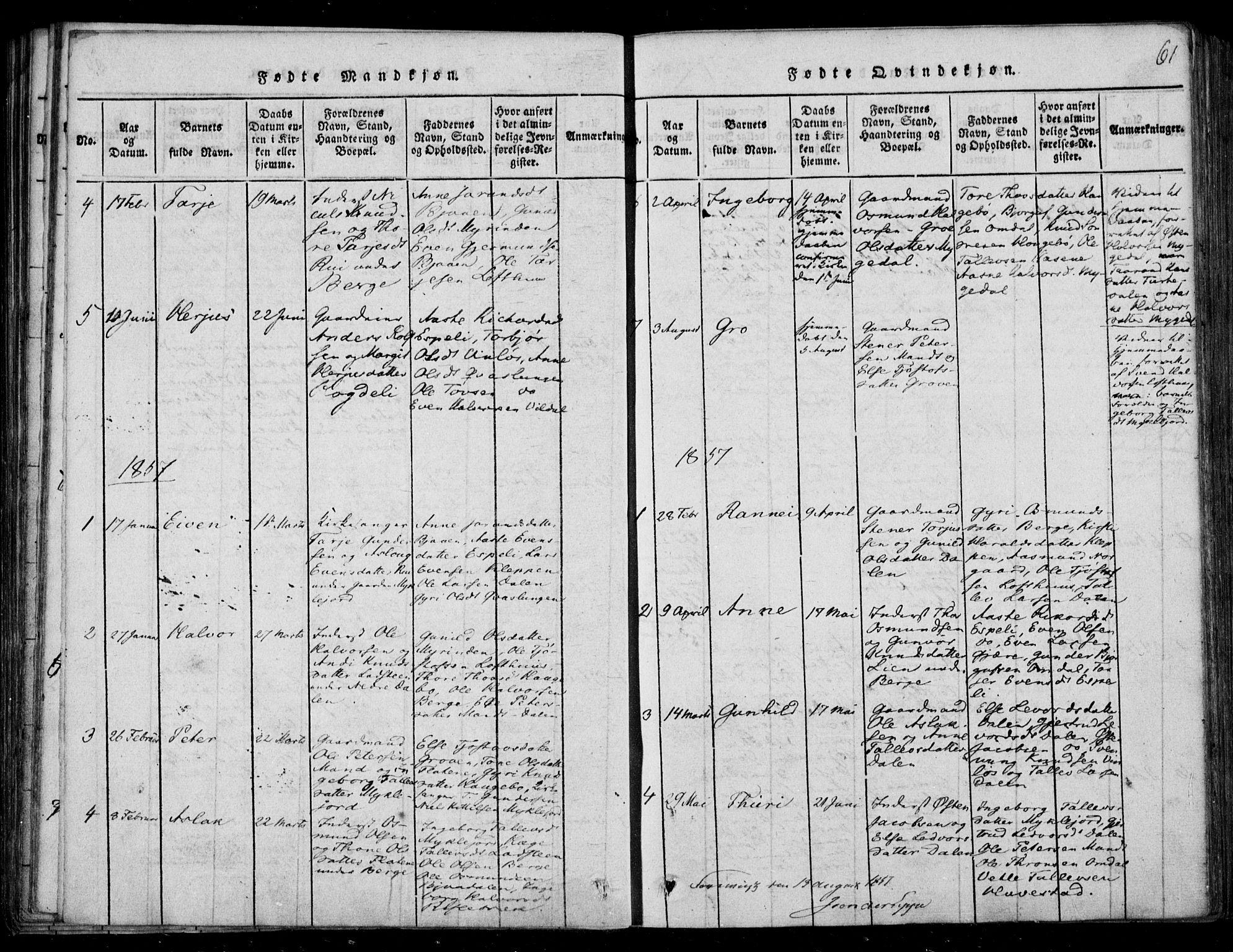 SAKO, Lårdal kirkebøker, F/Fb/L0001: Ministerialbok nr. II 1, 1815-1860, s. 61
