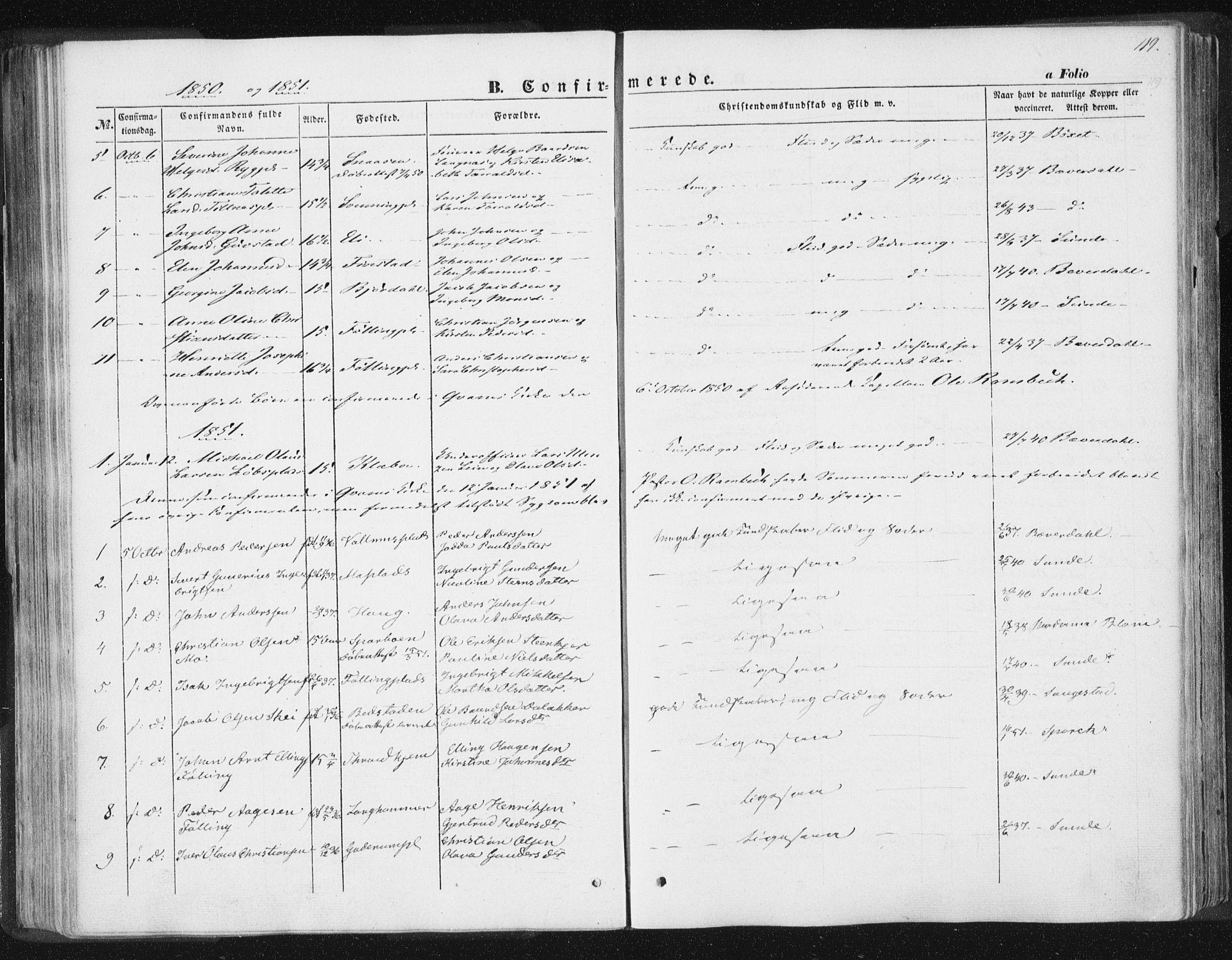 SAT, Ministerialprotokoller, klokkerbøker og fødselsregistre - Nord-Trøndelag, 746/L0446: Ministerialbok nr. 746A05, 1846-1859, s. 119