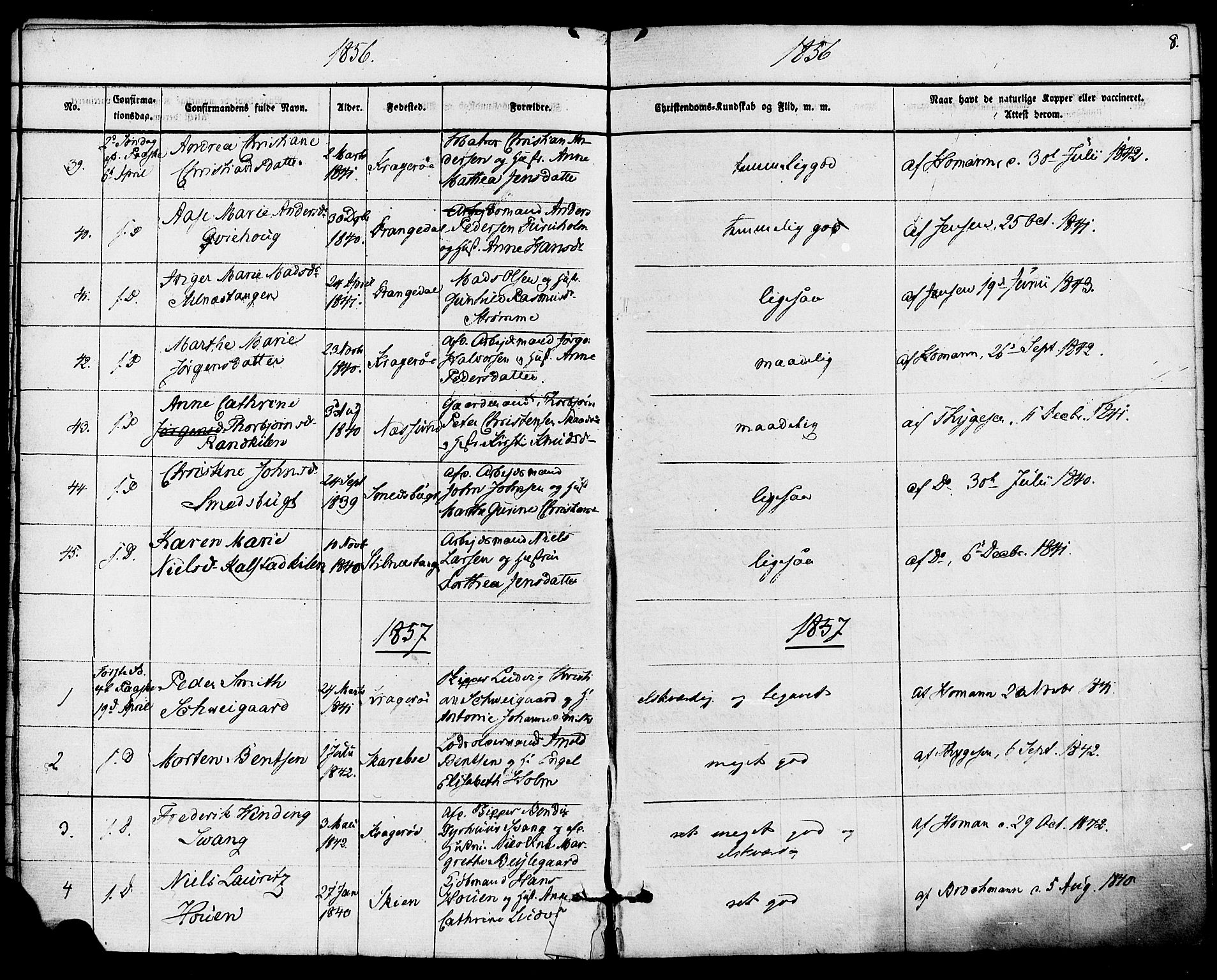 SAKO, Kragerø kirkebøker, F/Fa/L0008: Ministerialbok nr. 8, 1856-1880, s. 8