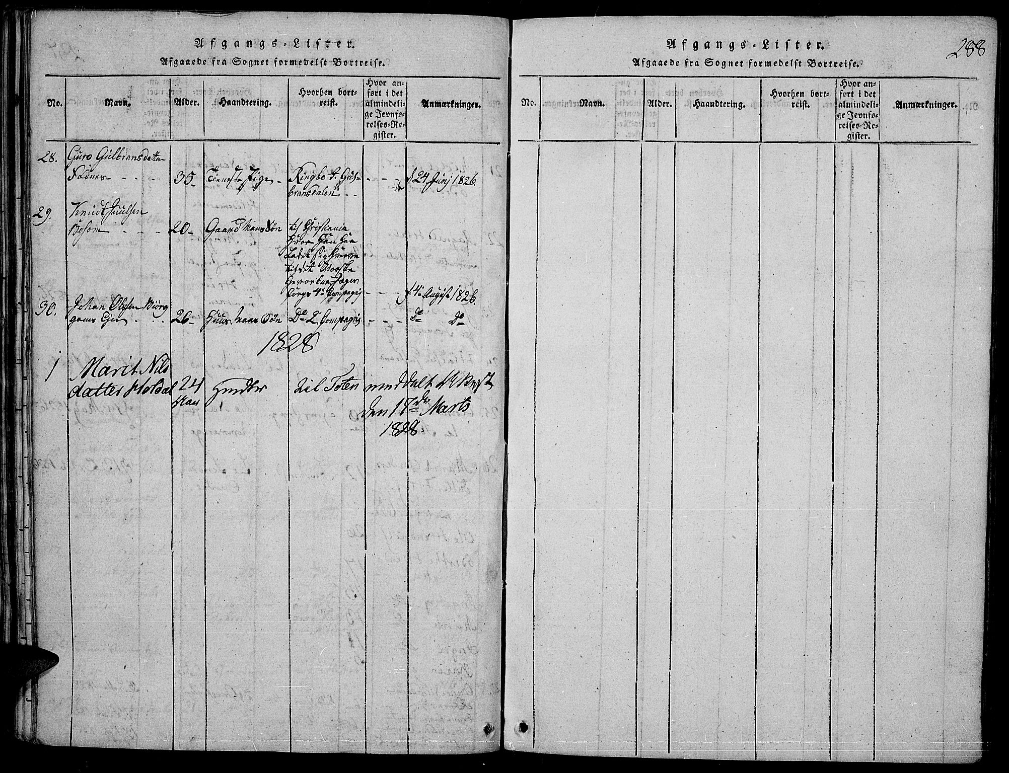 SAH, Nord-Aurdal prestekontor, Ministerialbok nr. 2, 1816-1828, s. 288