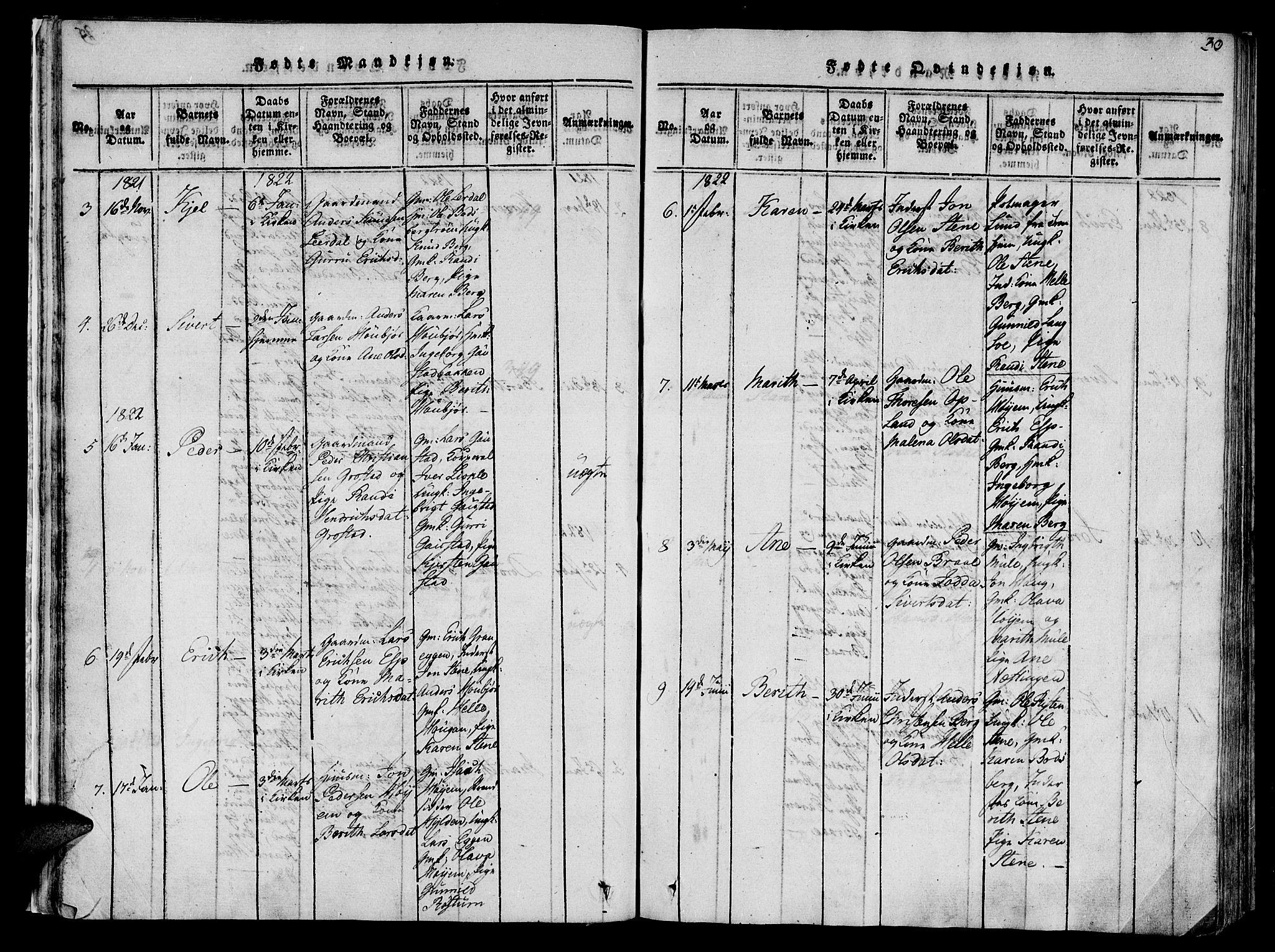 SAT, Ministerialprotokoller, klokkerbøker og fødselsregistre - Sør-Trøndelag, 612/L0372: Ministerialbok nr. 612A06 /1, 1816-1828, s. 30