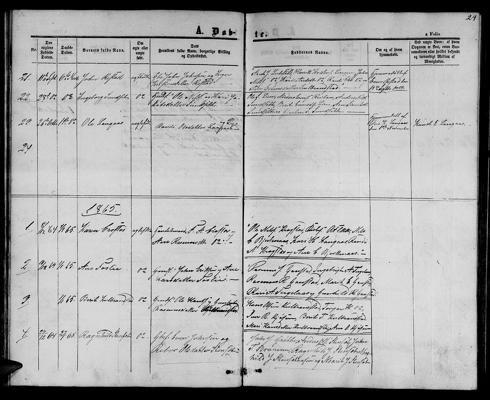 SAT, Ministerialprotokoller, klokkerbøker og fødselsregistre - Sør-Trøndelag, 694/L1131: Klokkerbok nr. 694C03, 1858-1886, s. 24