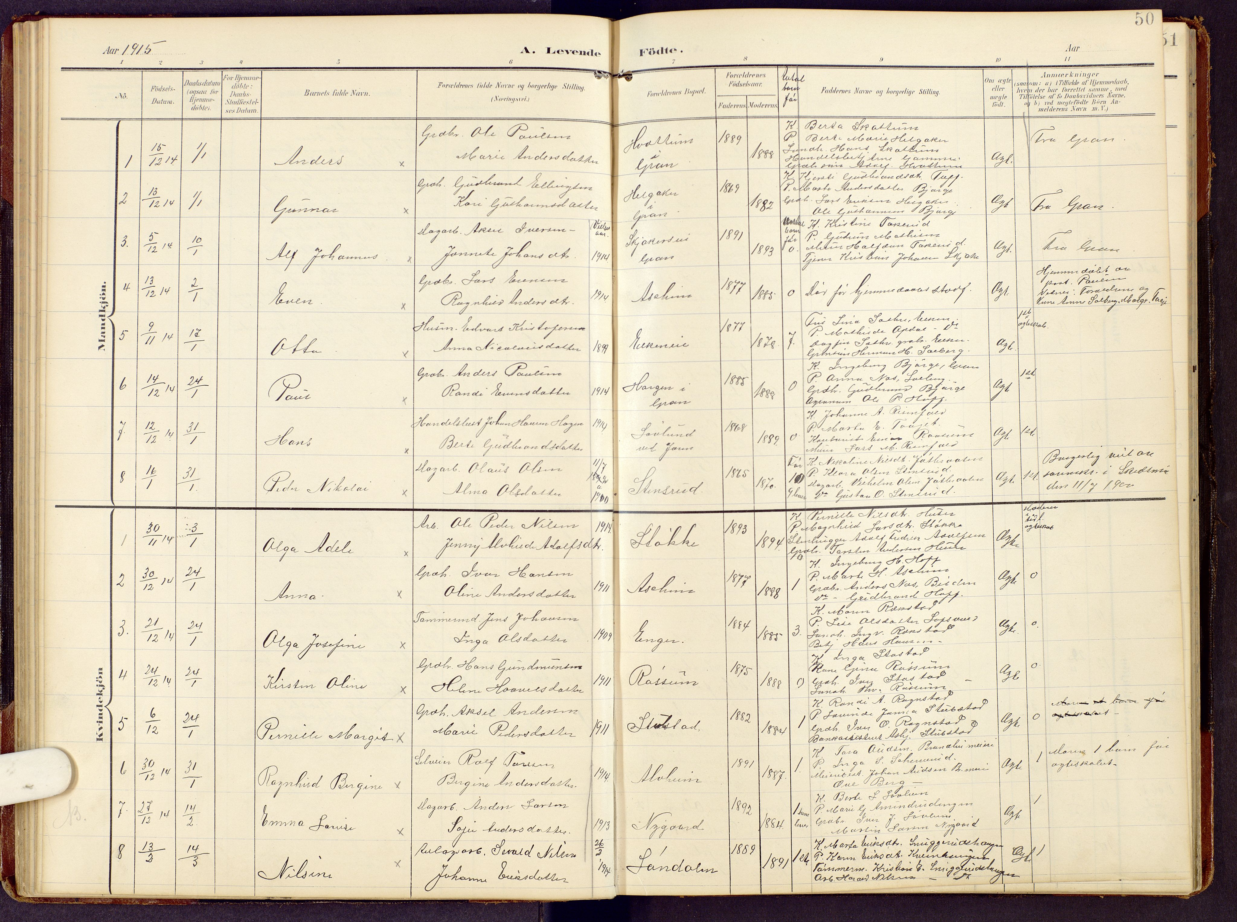 SAH, Brandbu prestekontor, Klokkerbok nr. 9, 1903-1916, s. 50
