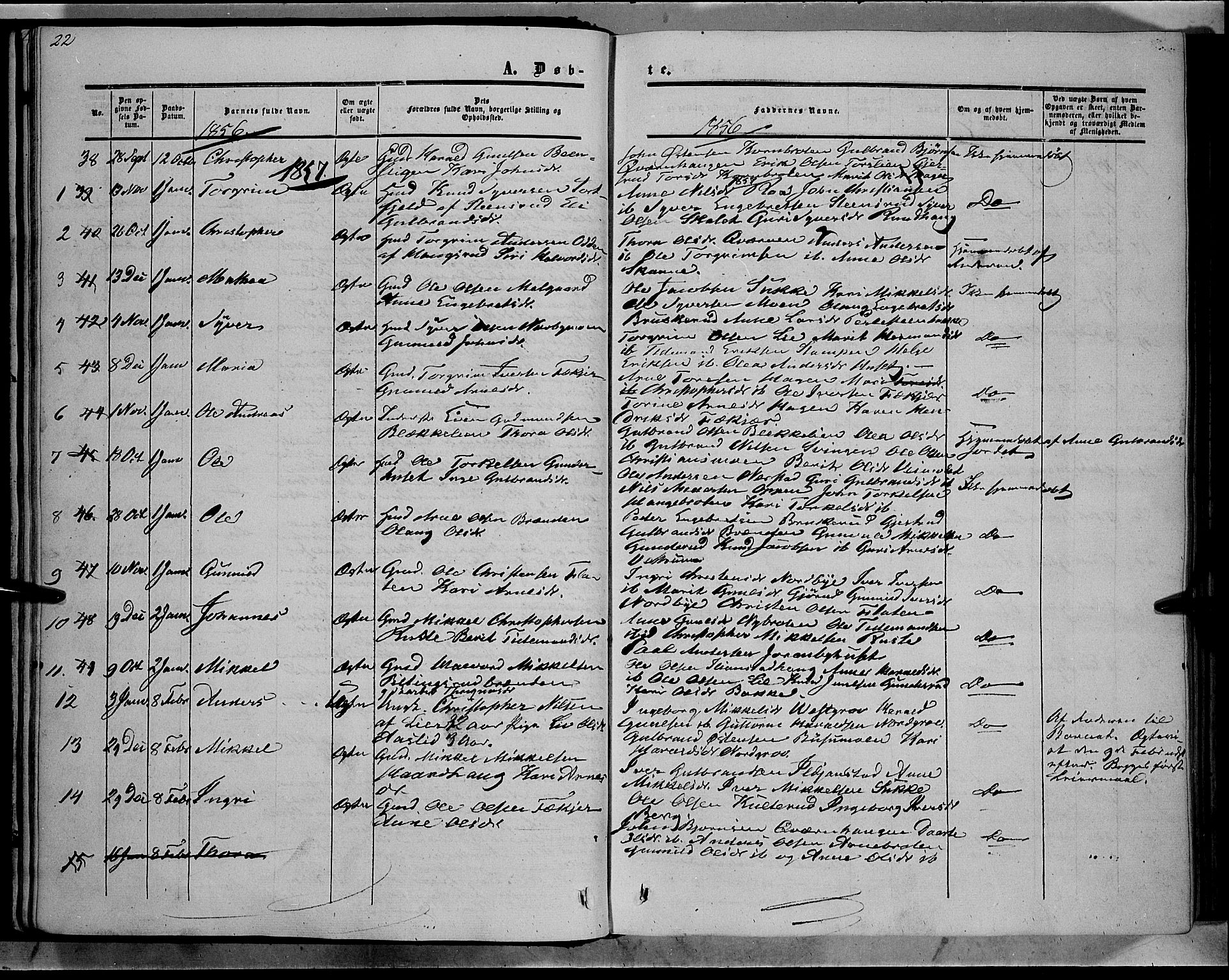 SAH, Sør-Aurdal prestekontor, Ministerialbok nr. 7, 1849-1876, s. 22