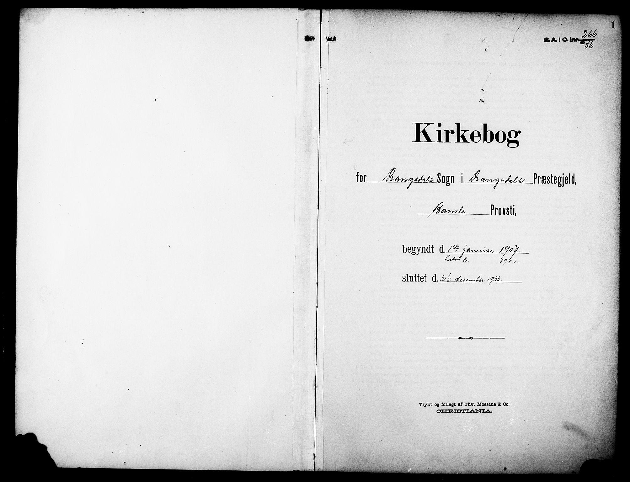 SAKO, Drangedal kirkebøker, G/Ga/L0004: Klokkerbok nr. I 4, 1901-1933, s. 1