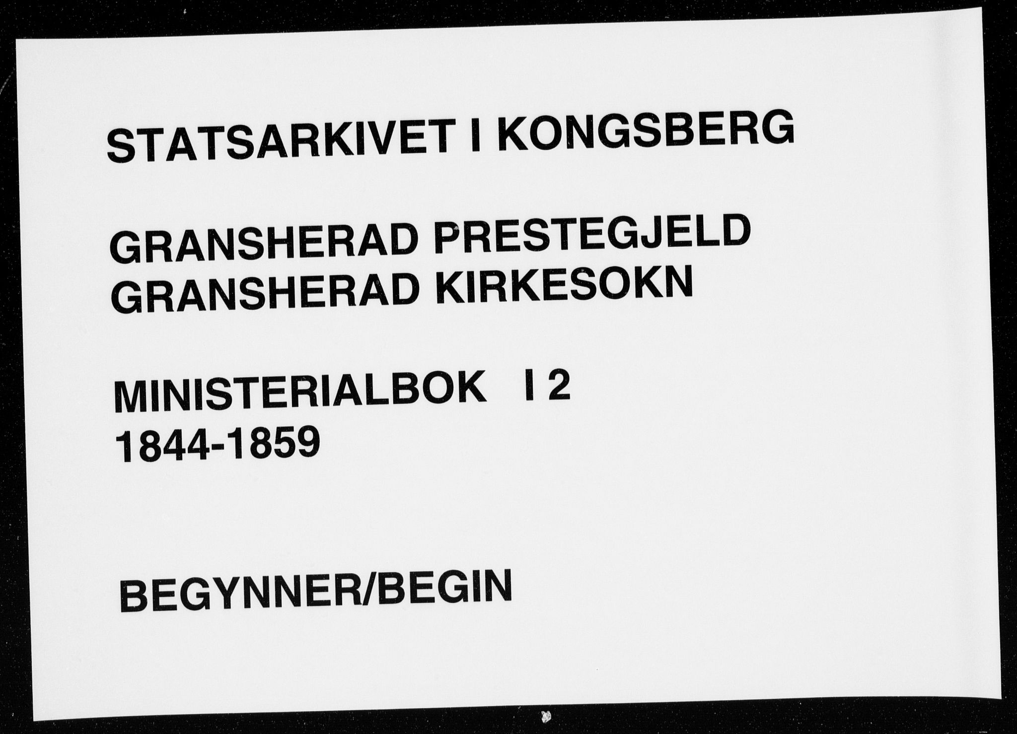 SAKO, Gransherad kirkebøker, F/Fa/L0002: Ministerialbok nr. I 2, 1844-1859