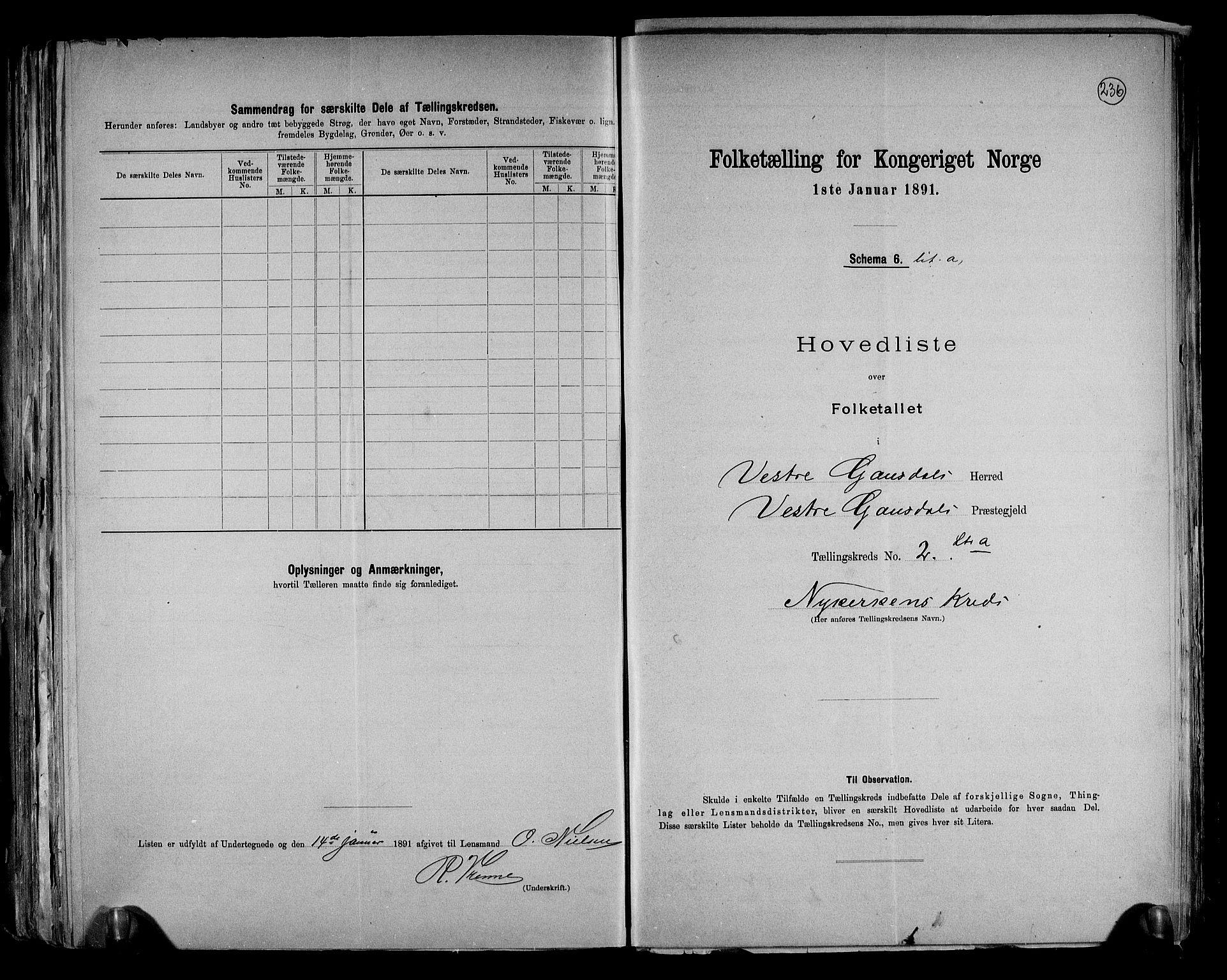 RA, Folketelling 1891 for 0523 Vestre Gausdal herred, 1891, s. 8