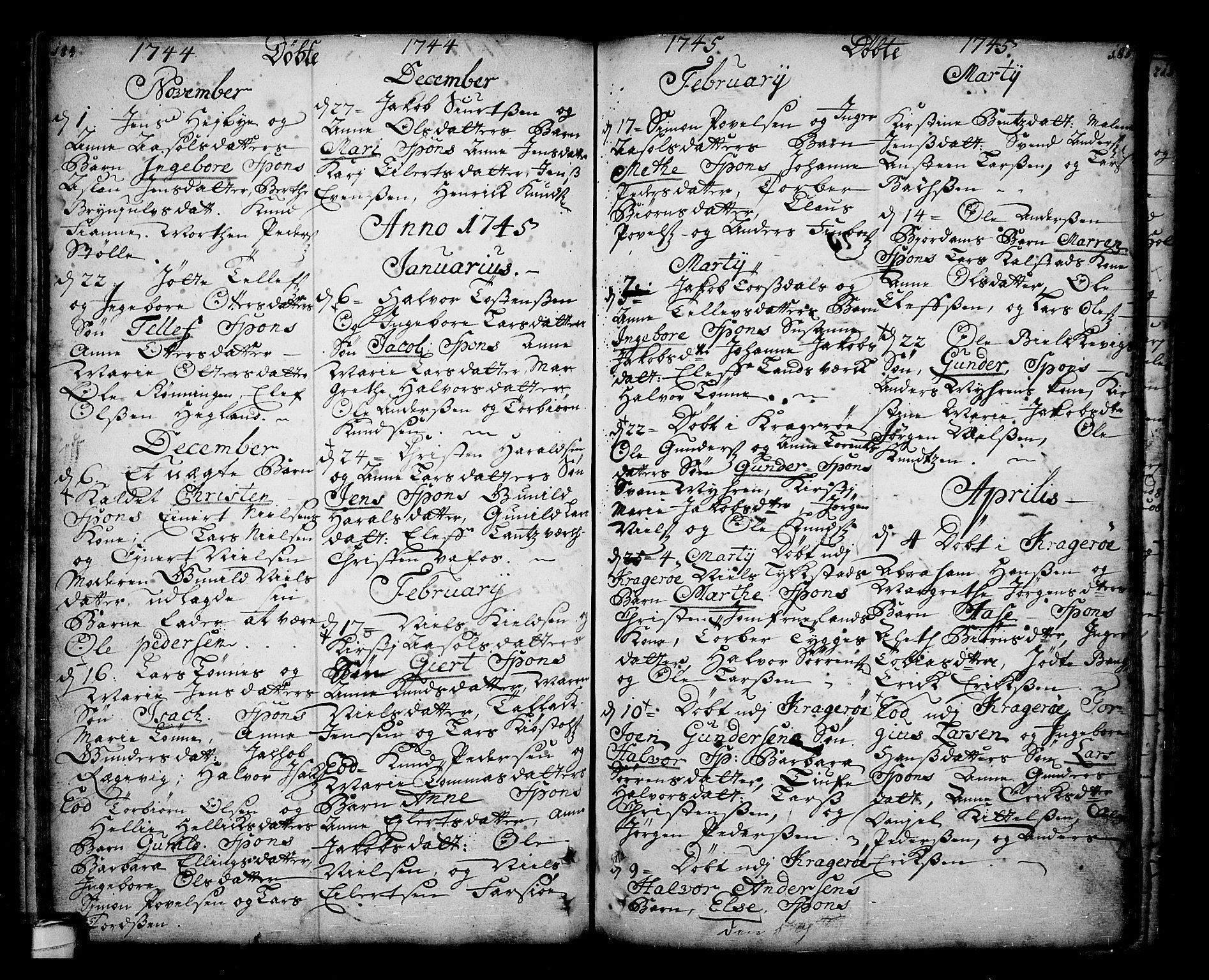 SAKO, Sannidal kirkebøker, F/Fa/L0001: Ministerialbok nr. 1, 1702-1766, s. 184-185