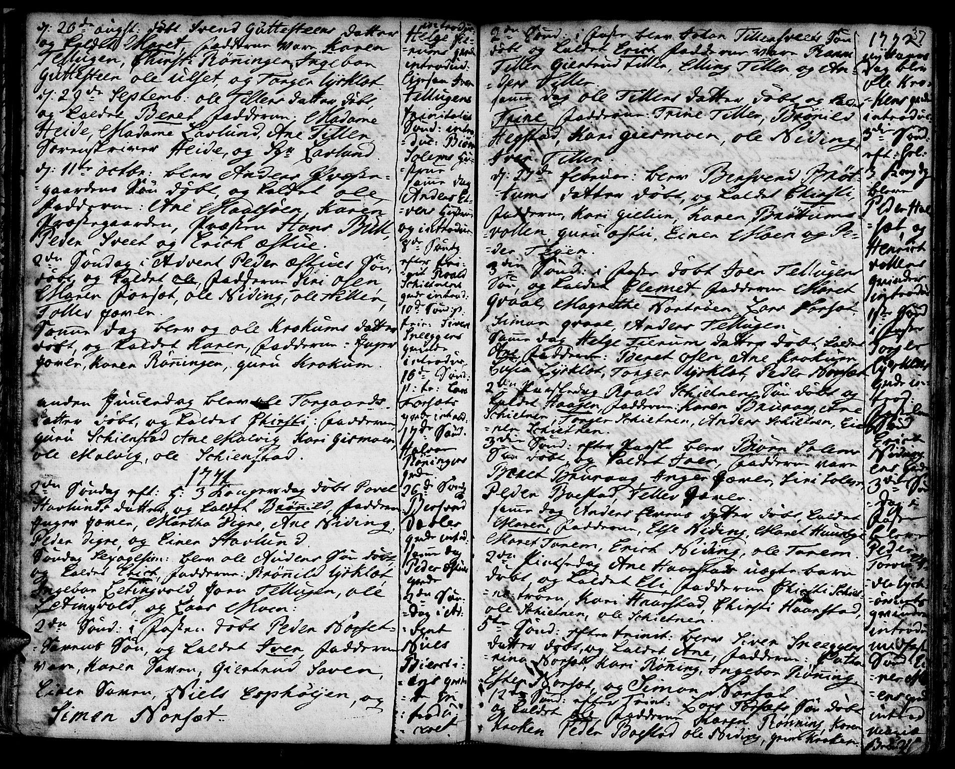 SAT, Ministerialprotokoller, klokkerbøker og fødselsregistre - Sør-Trøndelag, 618/L0437: Ministerialbok nr. 618A02, 1749-1782, s. 37