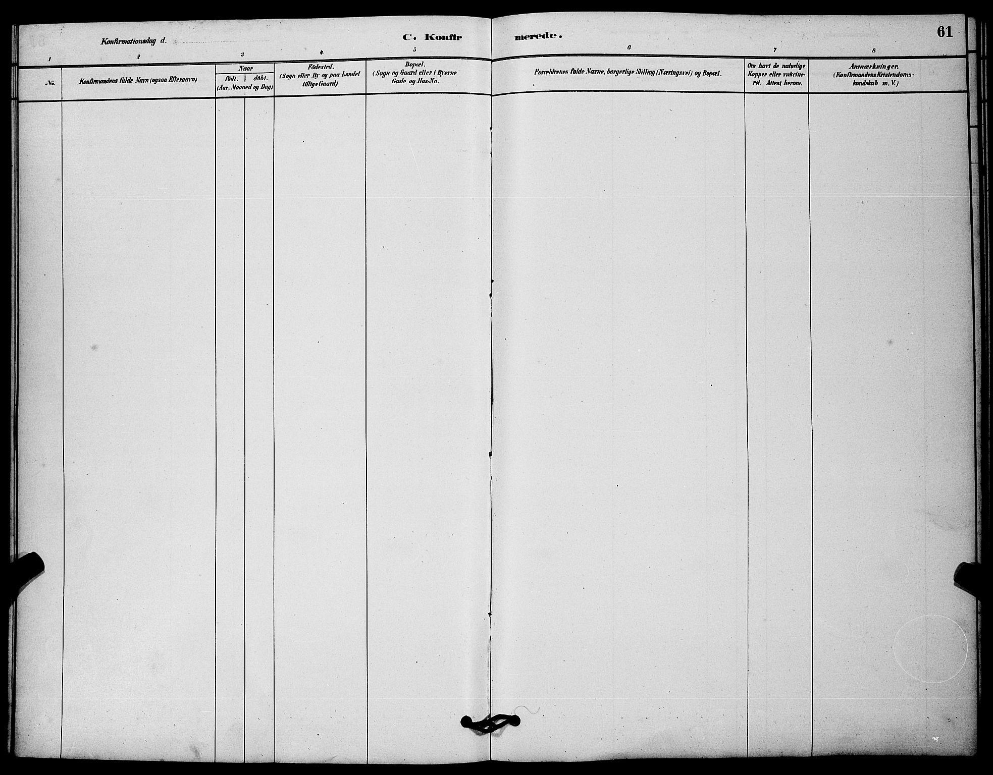 SAKO, Solum kirkebøker, G/Gc/L0001: Klokkerbok nr. III 1, 1880-1902, s. 61