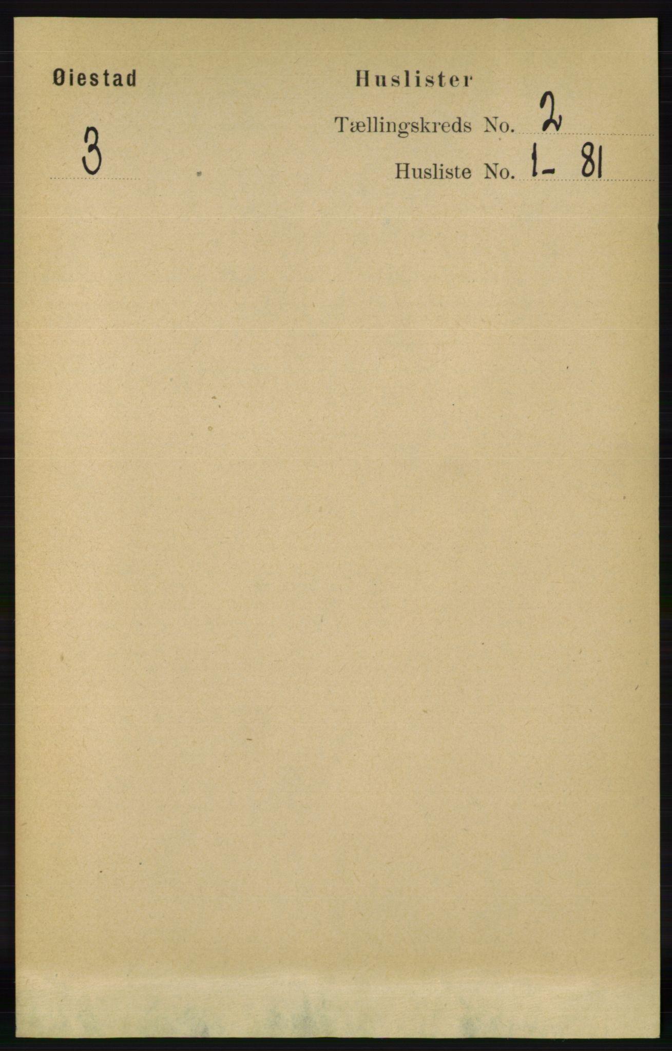 RA, Folketelling 1891 for 0920 Øyestad herred, 1891, s. 296