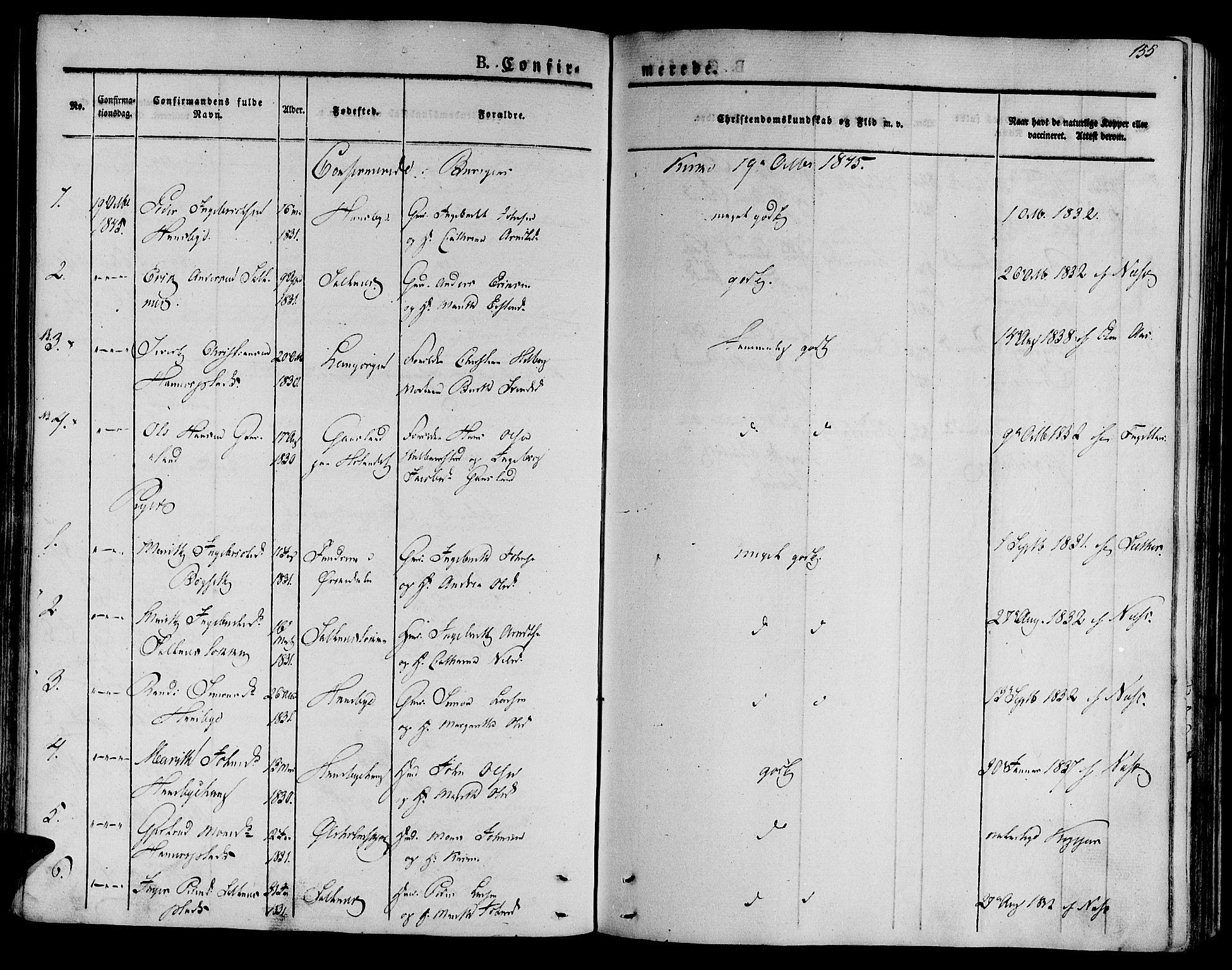 SAT, Ministerialprotokoller, klokkerbøker og fødselsregistre - Sør-Trøndelag, 612/L0375: Ministerialbok nr. 612A07 /2, 1829-1845, s. 155